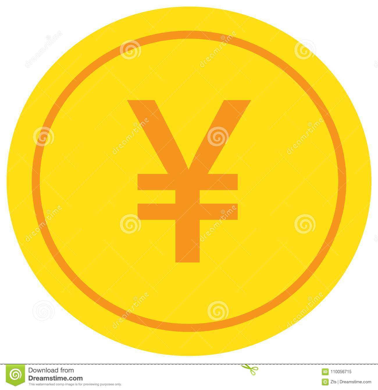 Yen Yuan Or Renminbi Currency Icon Or Logo Over A Coin Stock