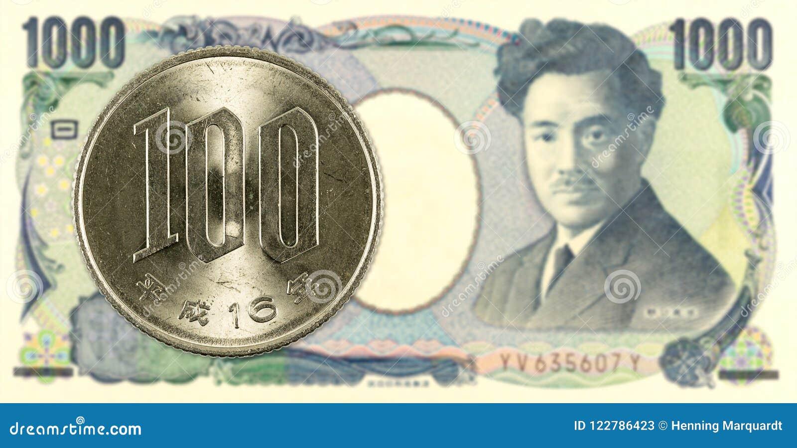 100 yenes japoneses acuñan contra billete de banco de 1000 yenes japoneses