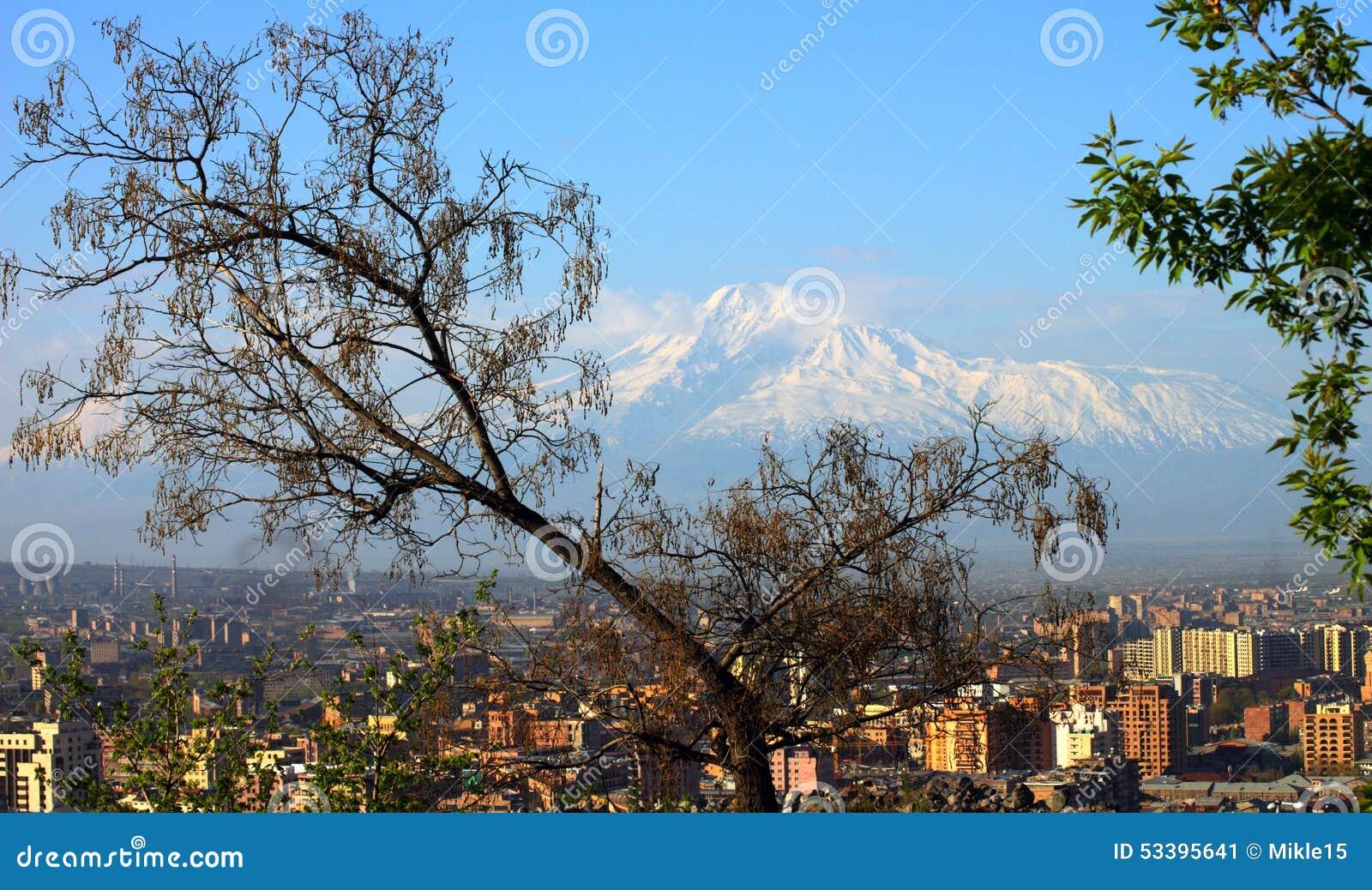 Yerevan city and Mount Ararat