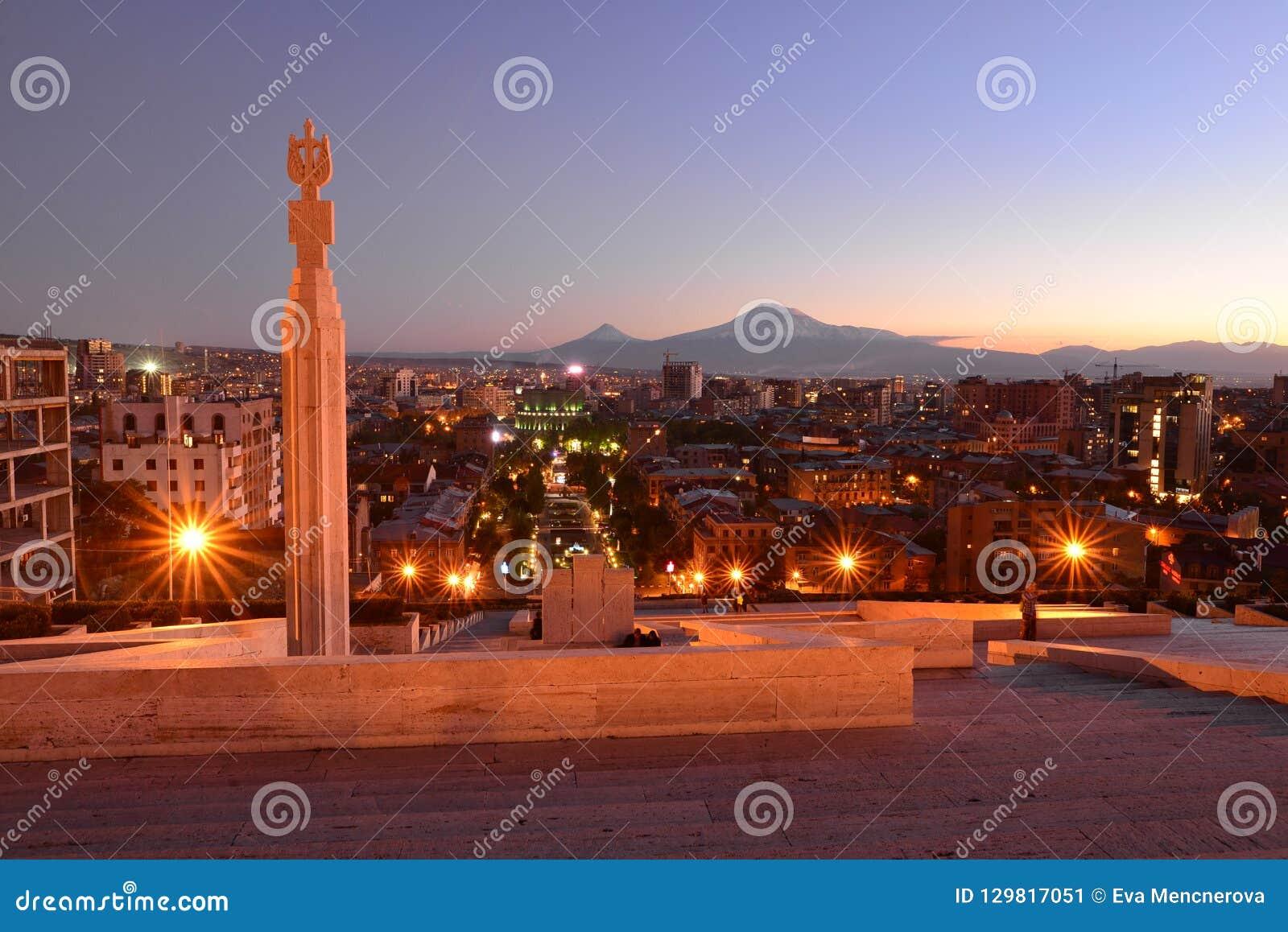 Yerevan at night with Mt. Ararat