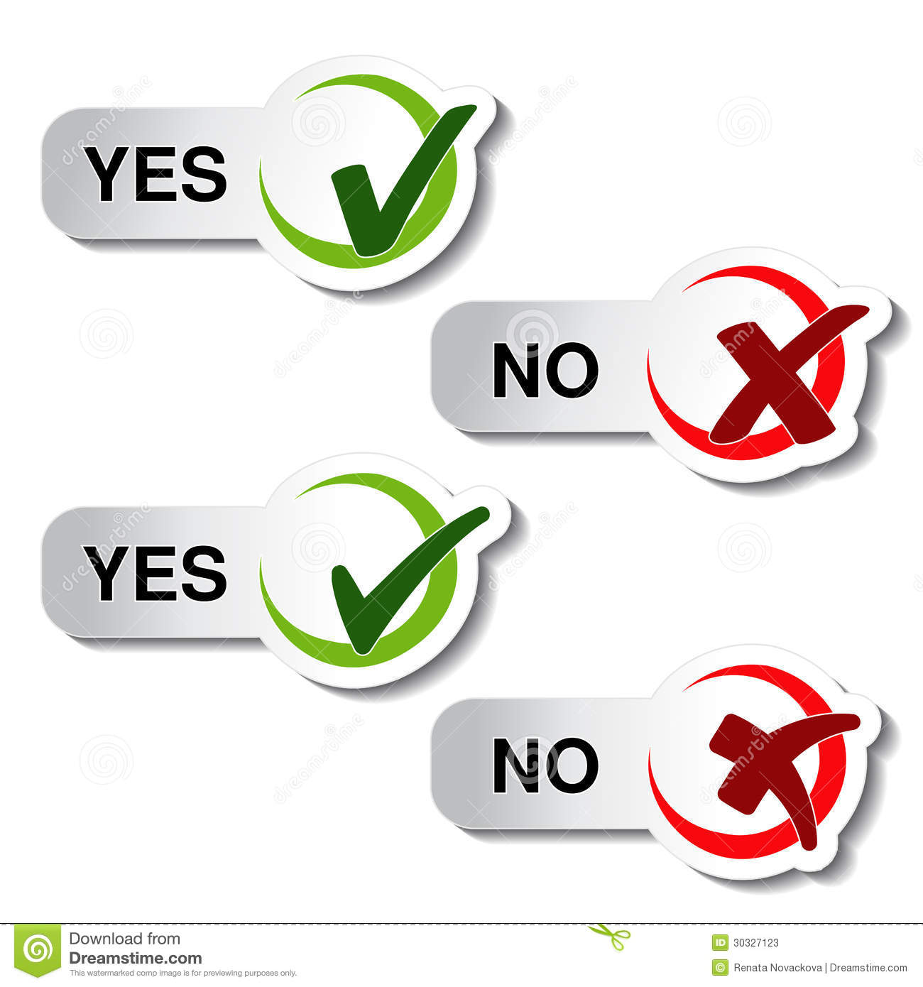 Yes No Button Check Mark Symbol Stock Vector Illustration Of
