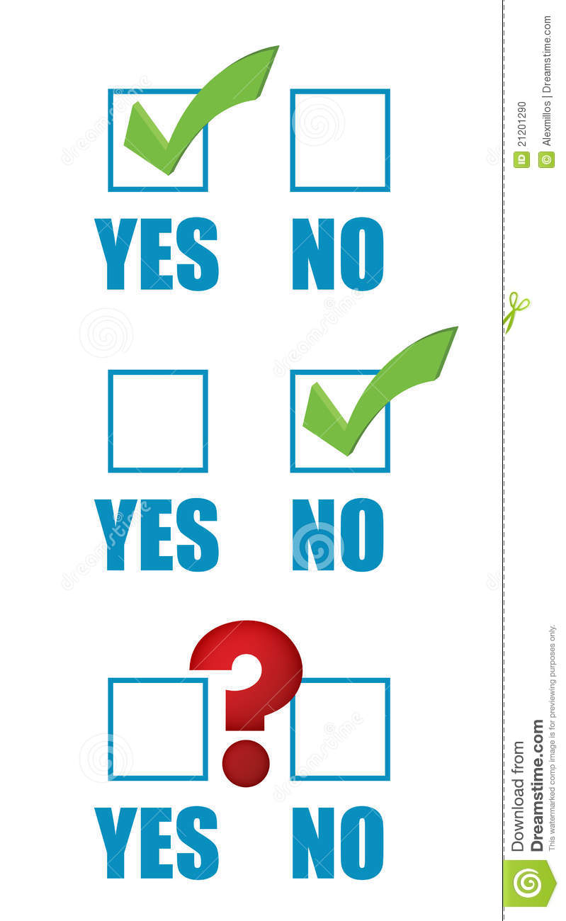 Yes No Checklist And Question Mark Stock Photo