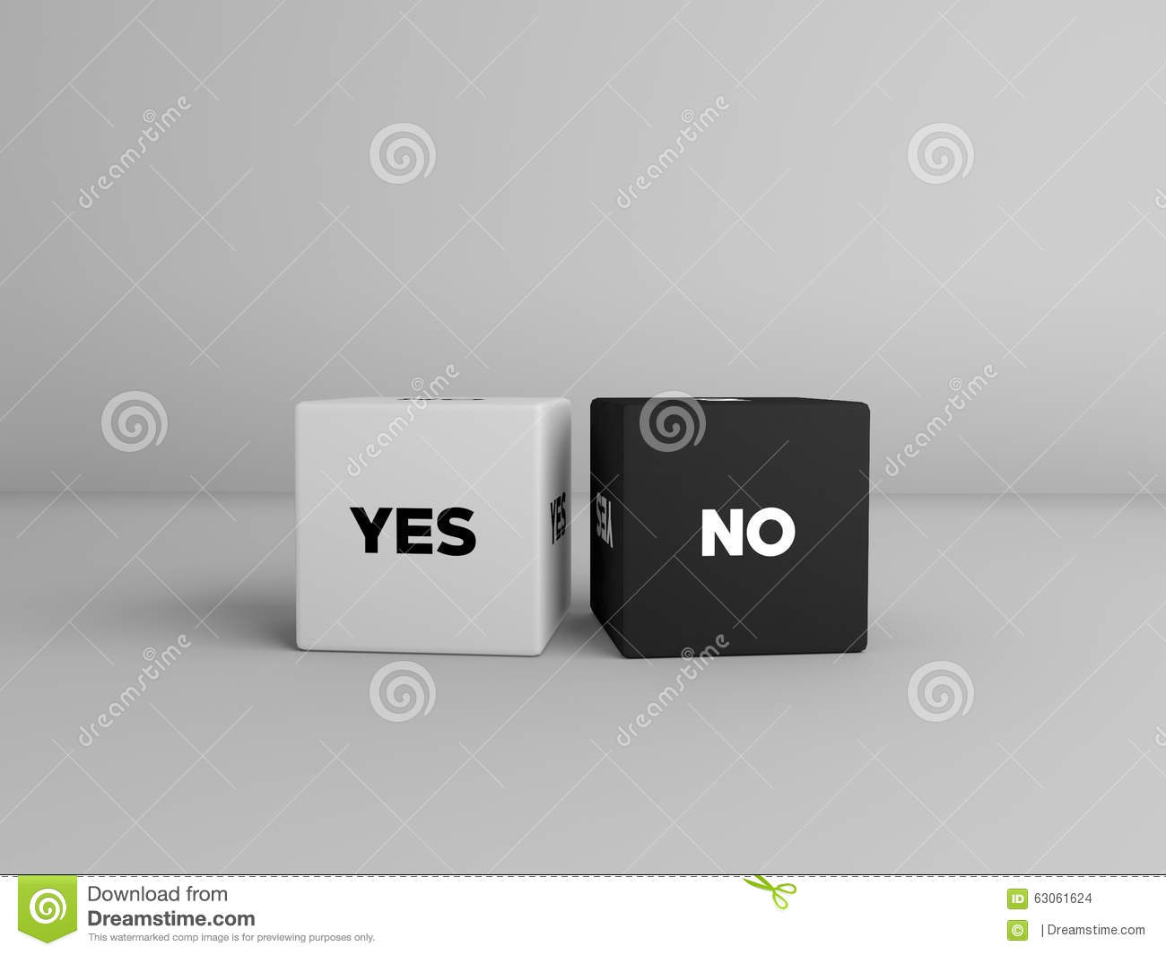 Yes No Dice Cubes In Black And White Color Stock Illustration