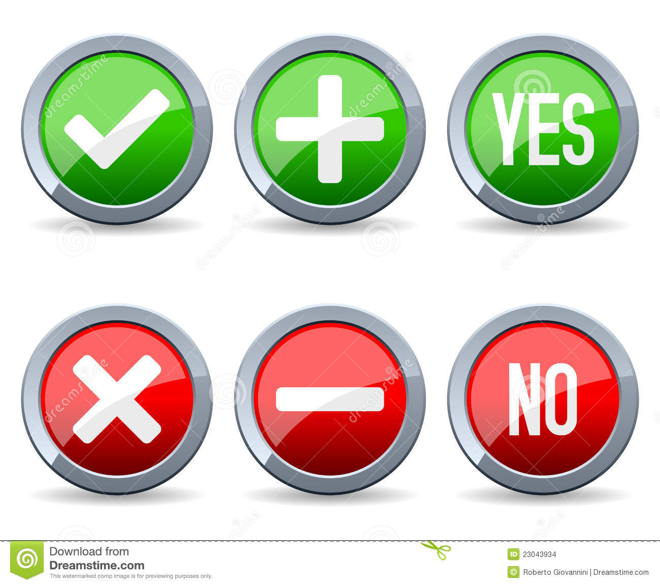 yes and no buttons  3d red glossy metallic icons royalty