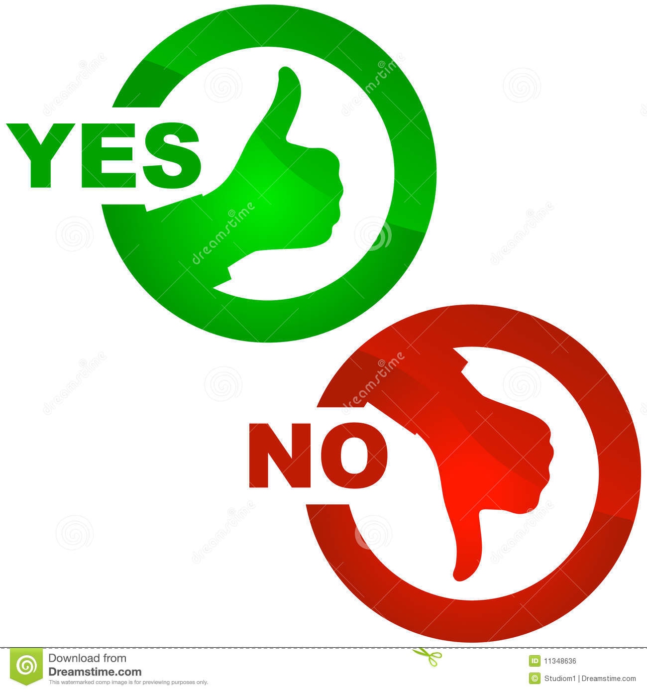 Yes and no icon stock vector illustration of green for Free clipart no copyright
