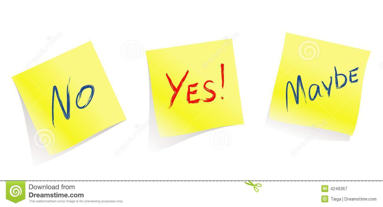 Yes / No / Maybe / Yellow Note Pages / Vector Stock Vector ...