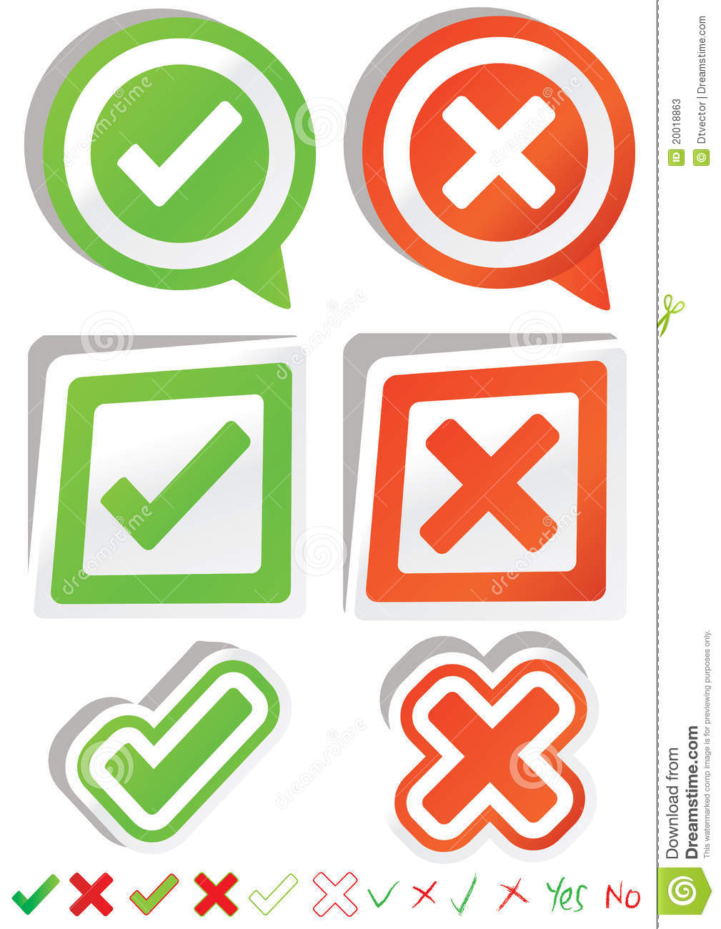 Yes No Stickers_eps Stock Photos