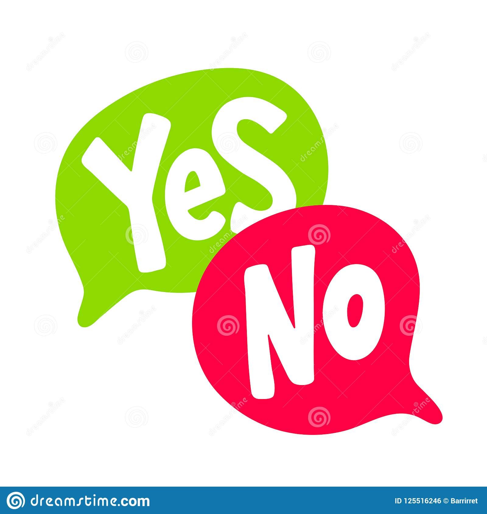 Yes No Word Text On Talk Shape. Green And Red Color Vector