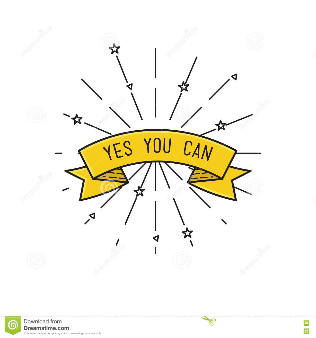 Vector Drawing Lines Quotes : Yes you can inspirational vector illustration