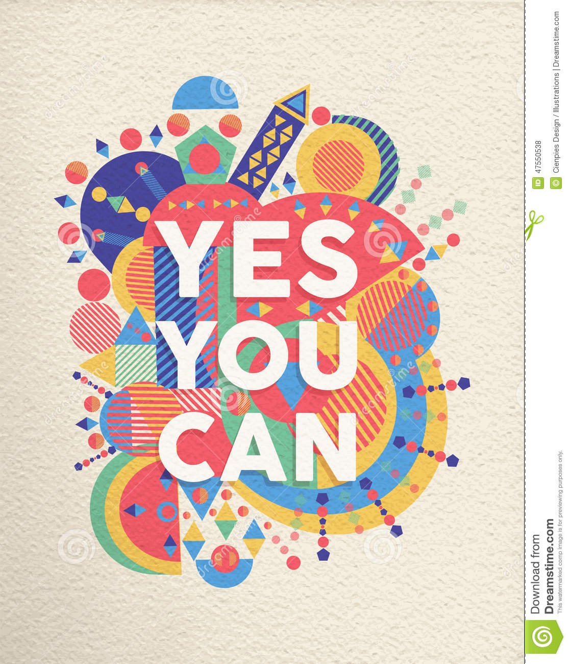 Yes You Can Quote Poster Design Stock Vector