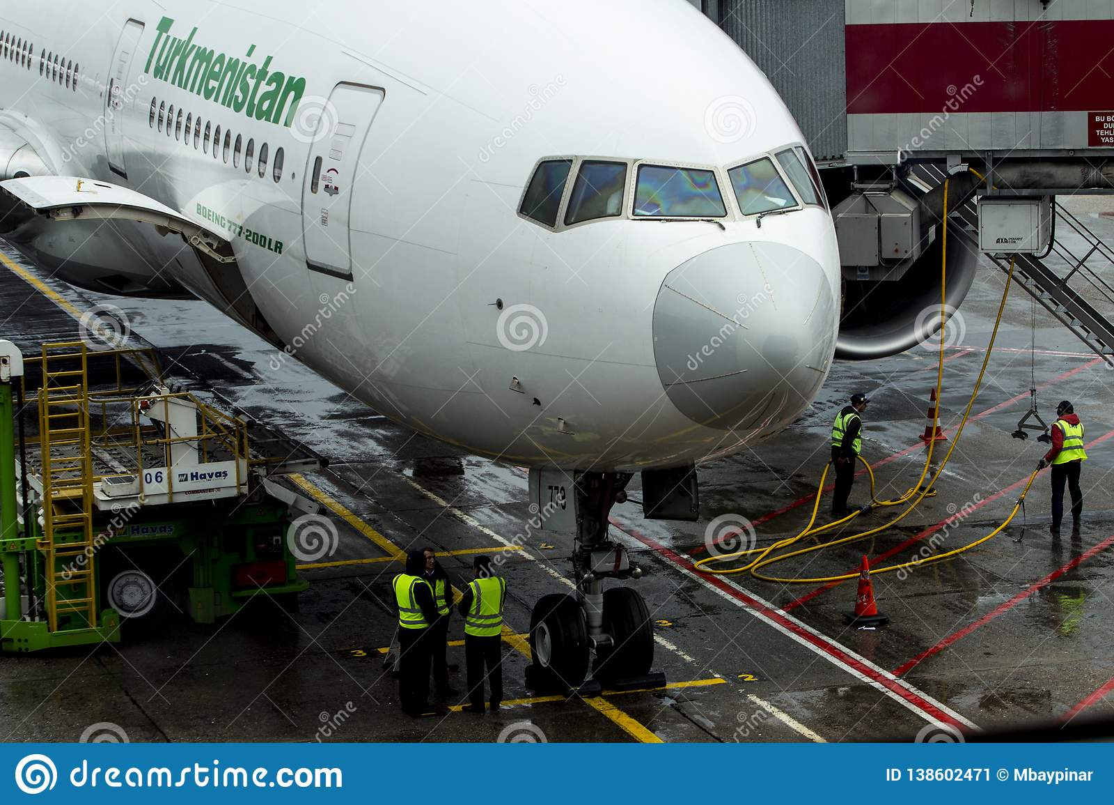 Yesilkoy, Istanbul / Turkey November 28th, 2018: Turkmenistan Airlines Boeing 777-200LR, in Istanbul Ataturk International Airport