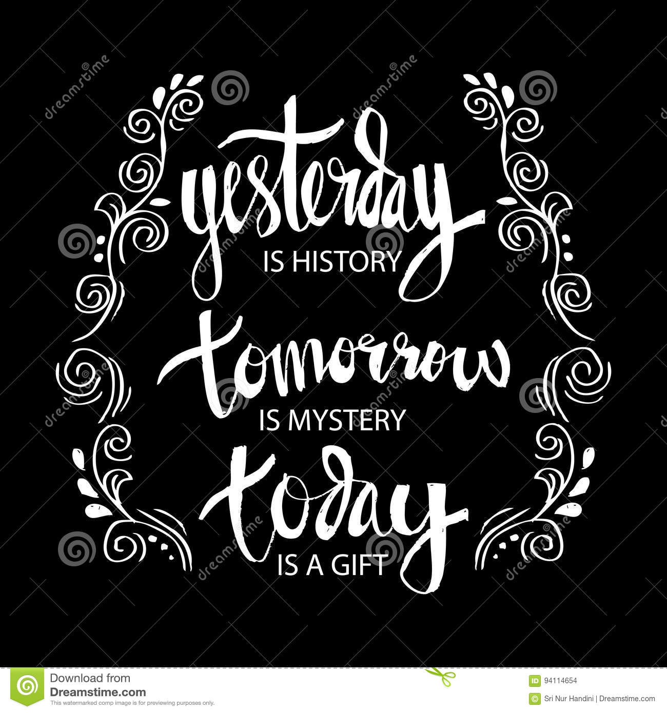 Yesterday Is History Tomorrow A Mystery Today Gift