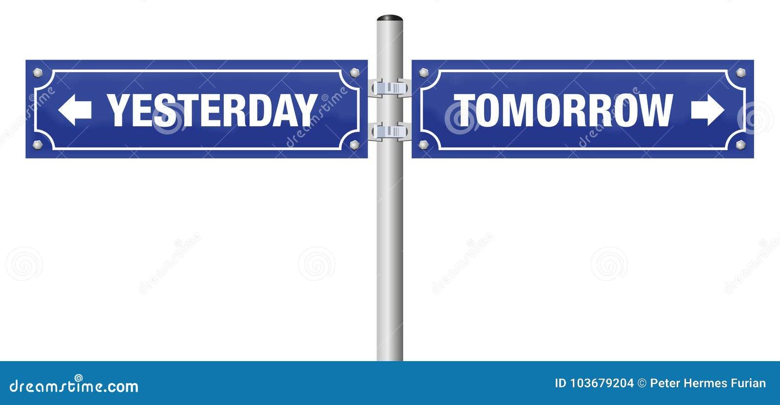 Yesterday Tomorrow Street Sign Stock Vector Illustration Of