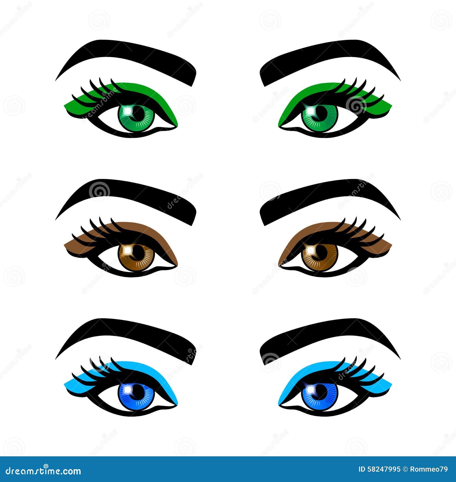 yeux de collection et sourcils femelles des formes diff rentes couleurs avec sans le. Black Bedroom Furniture Sets. Home Design Ideas