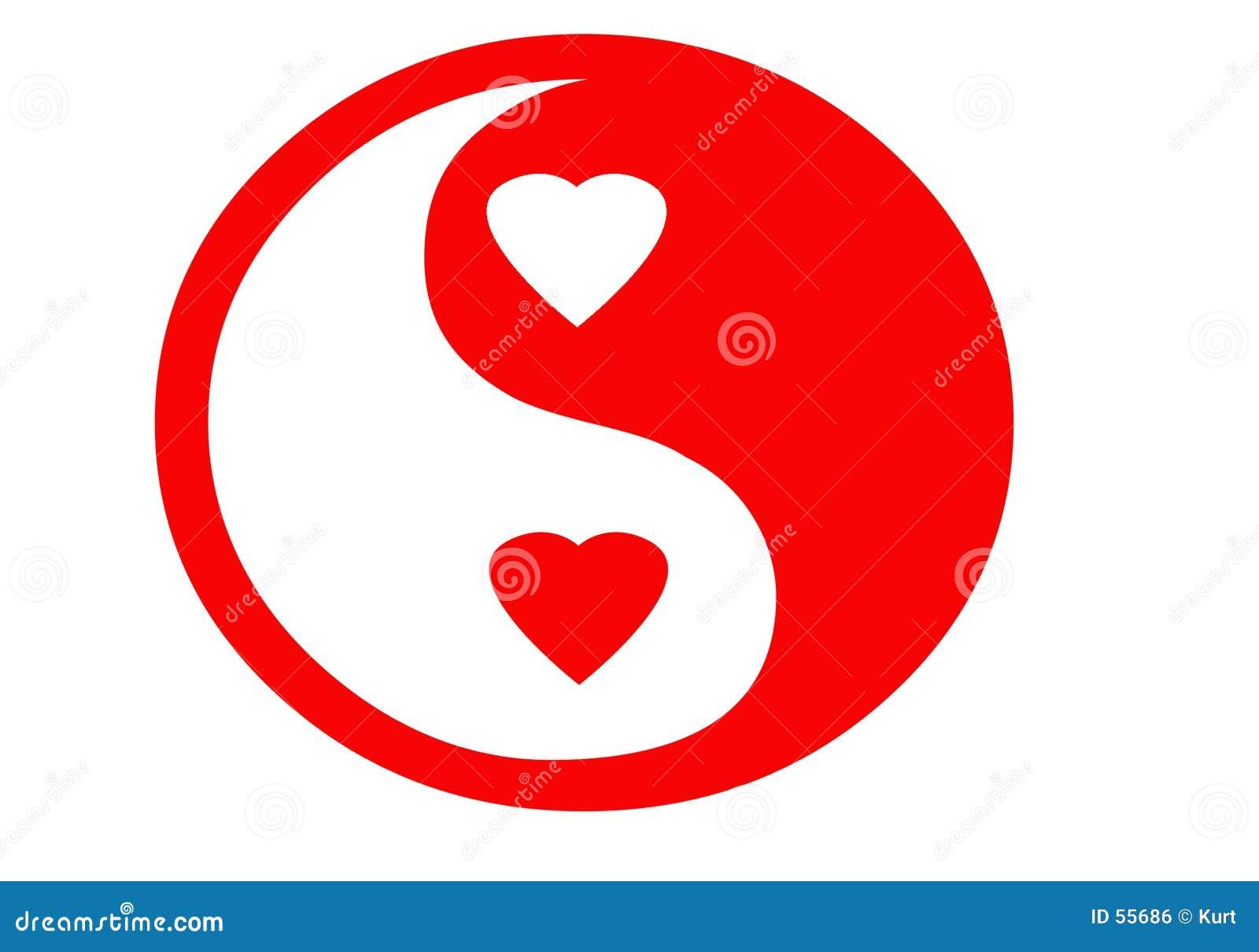 Yin yan de la tarjeta del día de San Valentín
