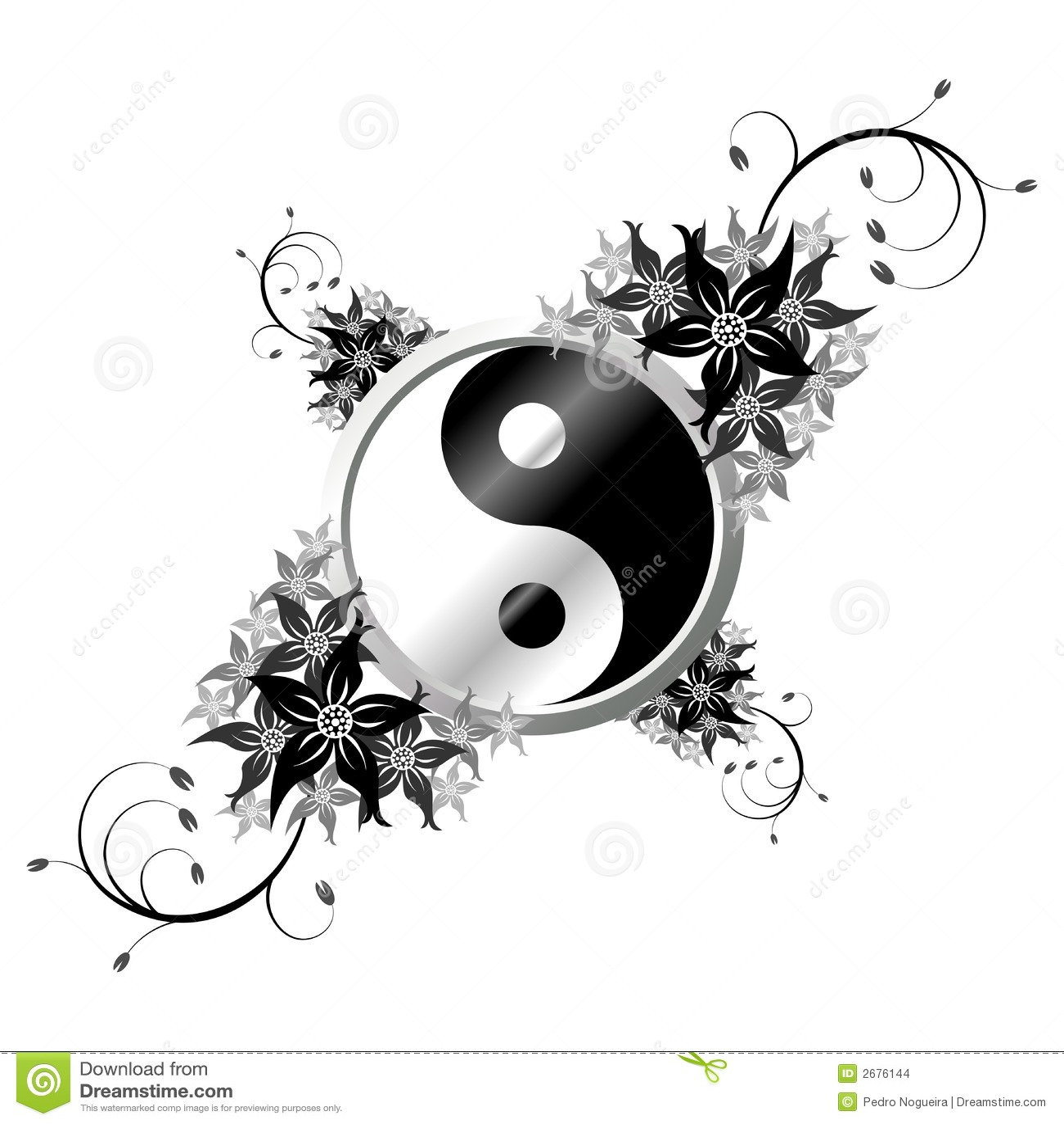 Yin Yang avec des fleurs