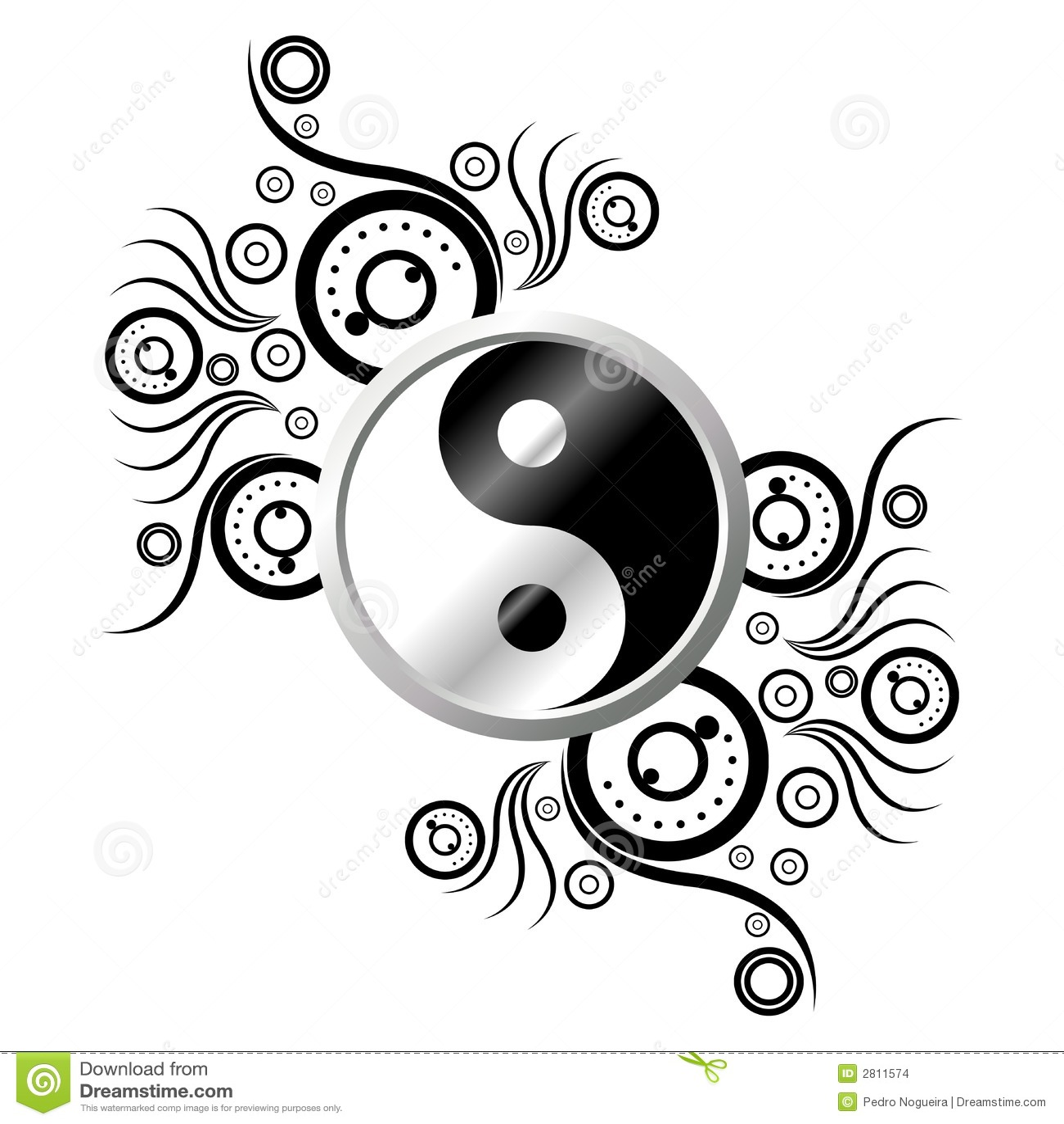 yin yang con el ornamento ilustraci n del vector ilustraci n de oriental 2811574. Black Bedroom Furniture Sets. Home Design Ideas