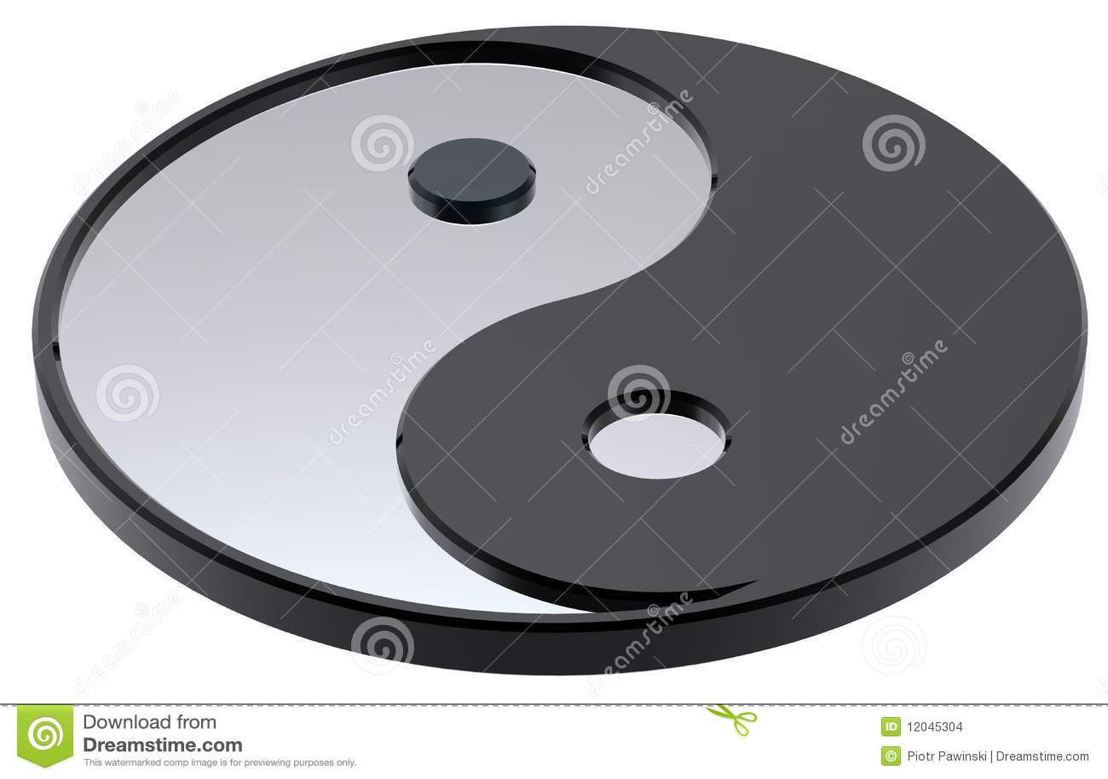 Yin-Yang de prata, símbolo da harmonia