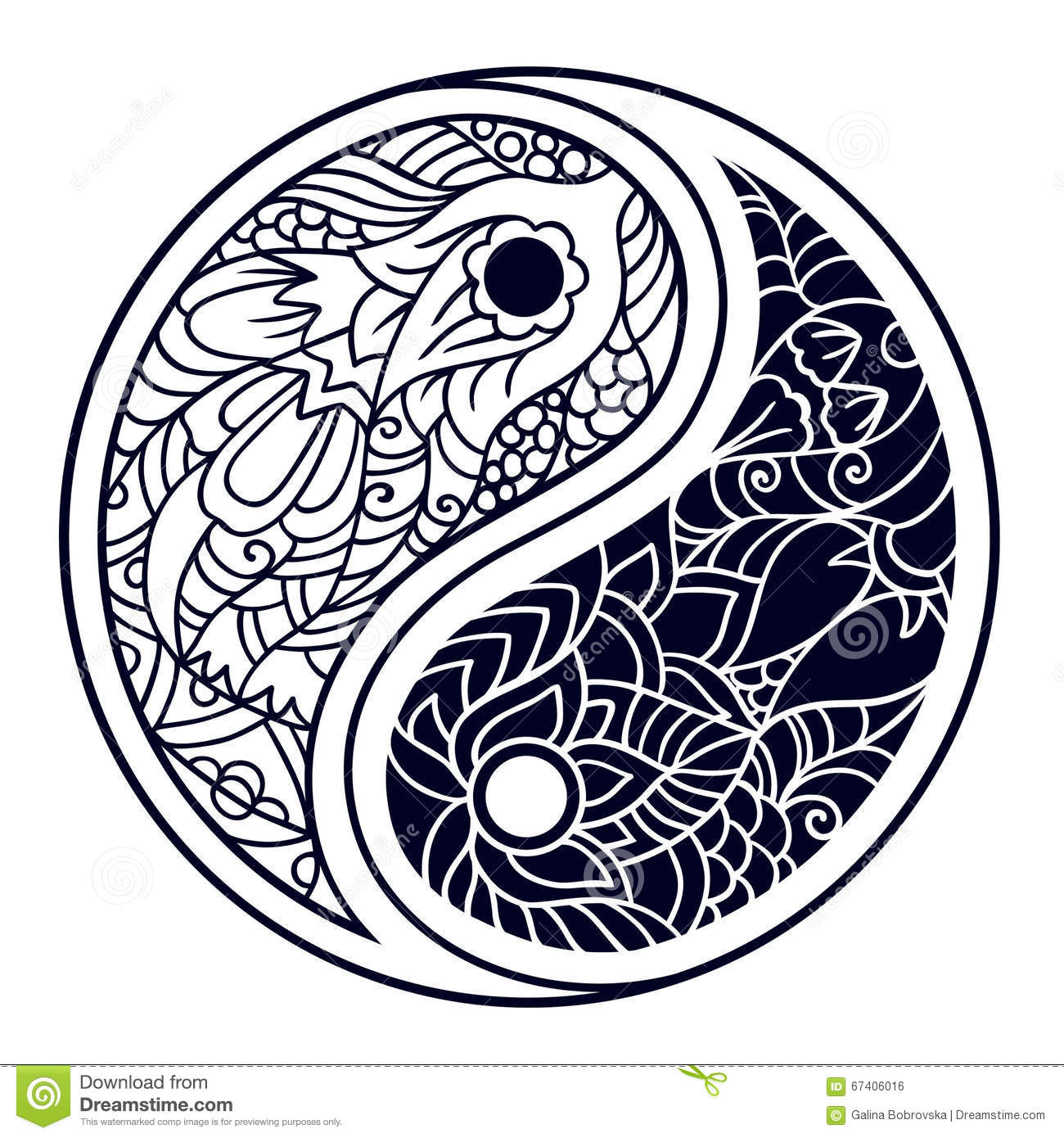 yin and yang decorative symbol hand drawn vintage style design stock vector image 67406016. Black Bedroom Furniture Sets. Home Design Ideas