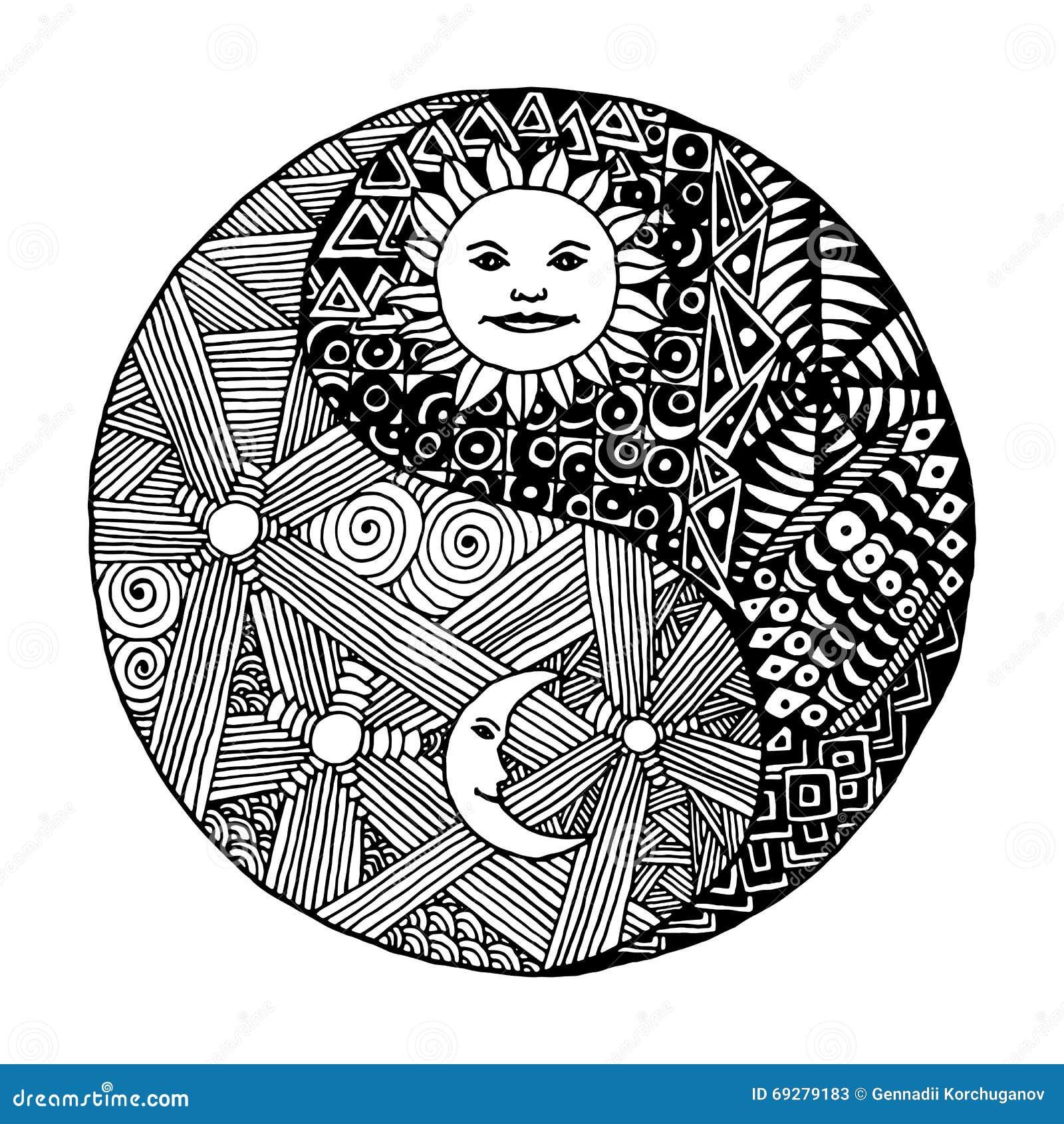 yin yang doodle  zentangl  moon at night stock vector Vector Art Stars That Shine Stars Shining Vector Art