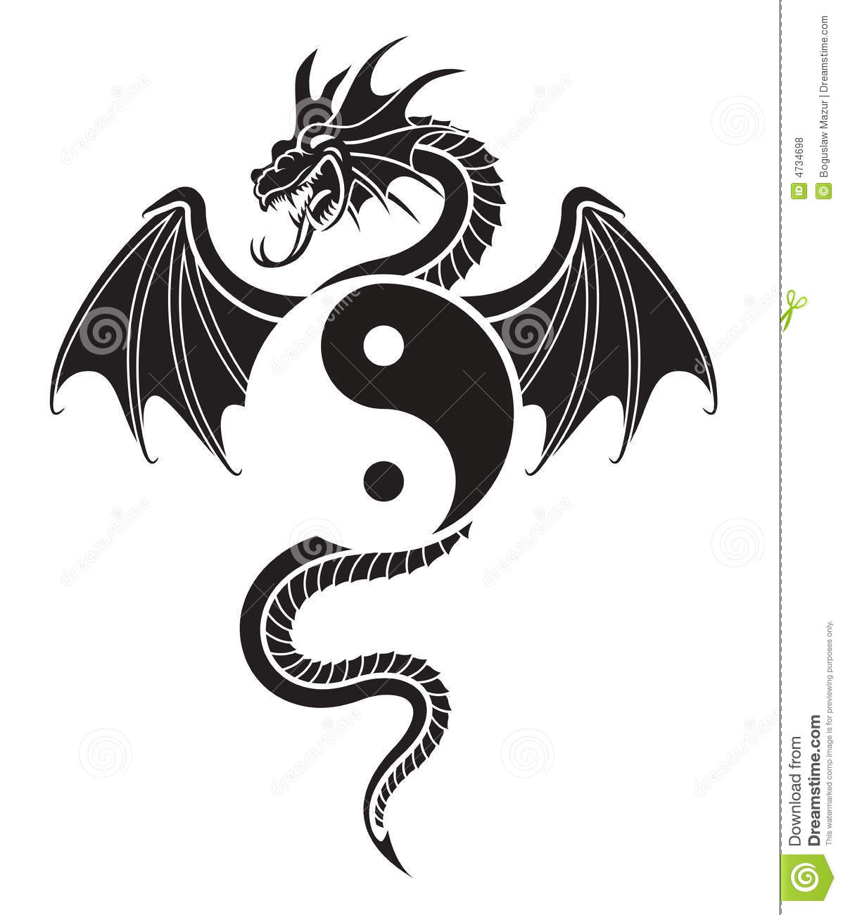yin yang dragon stock vector illustration of decoration 4734698. Black Bedroom Furniture Sets. Home Design Ideas