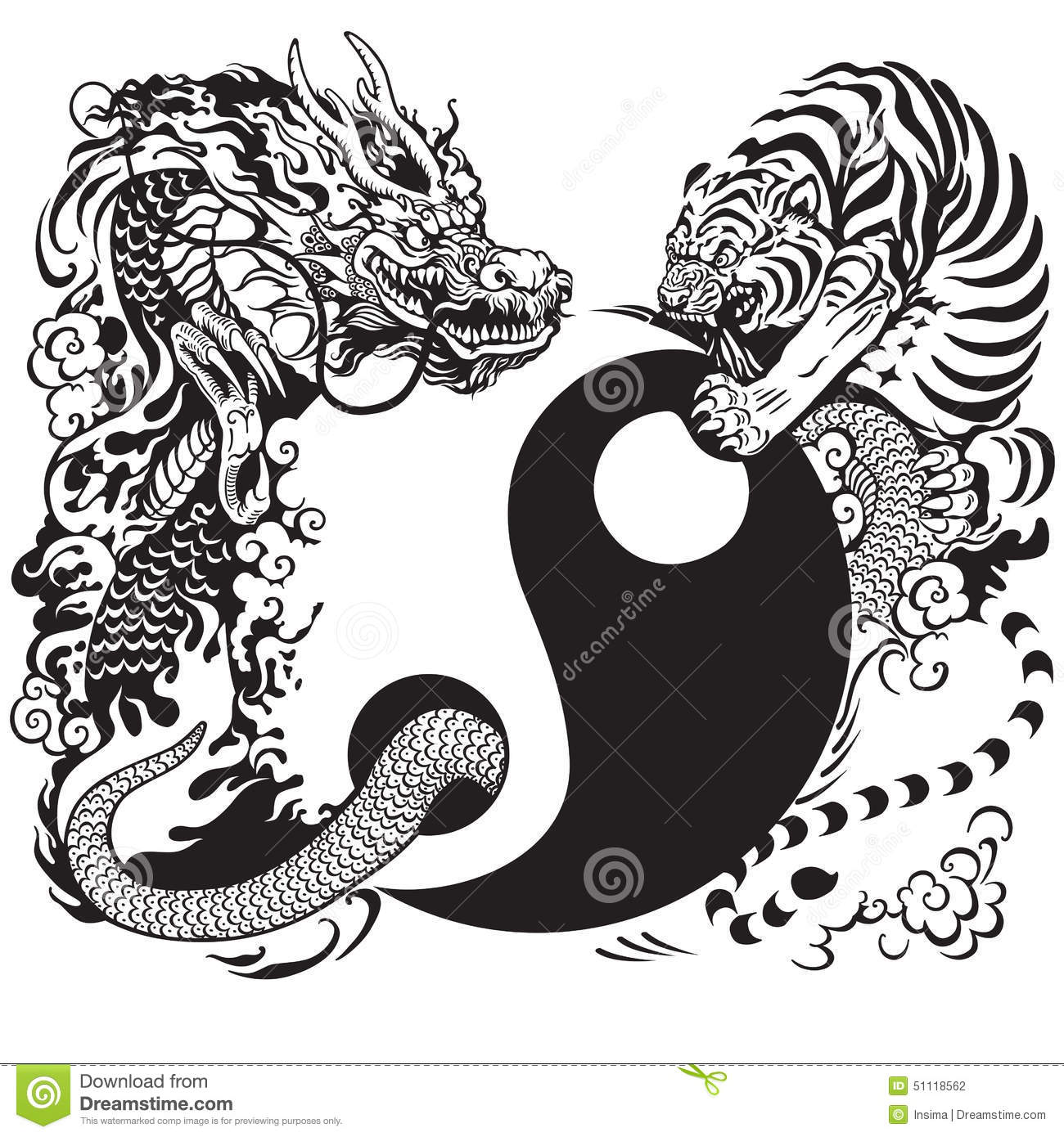 Yin Yang With Dragon And Tiger Stock Vector Illustration Of