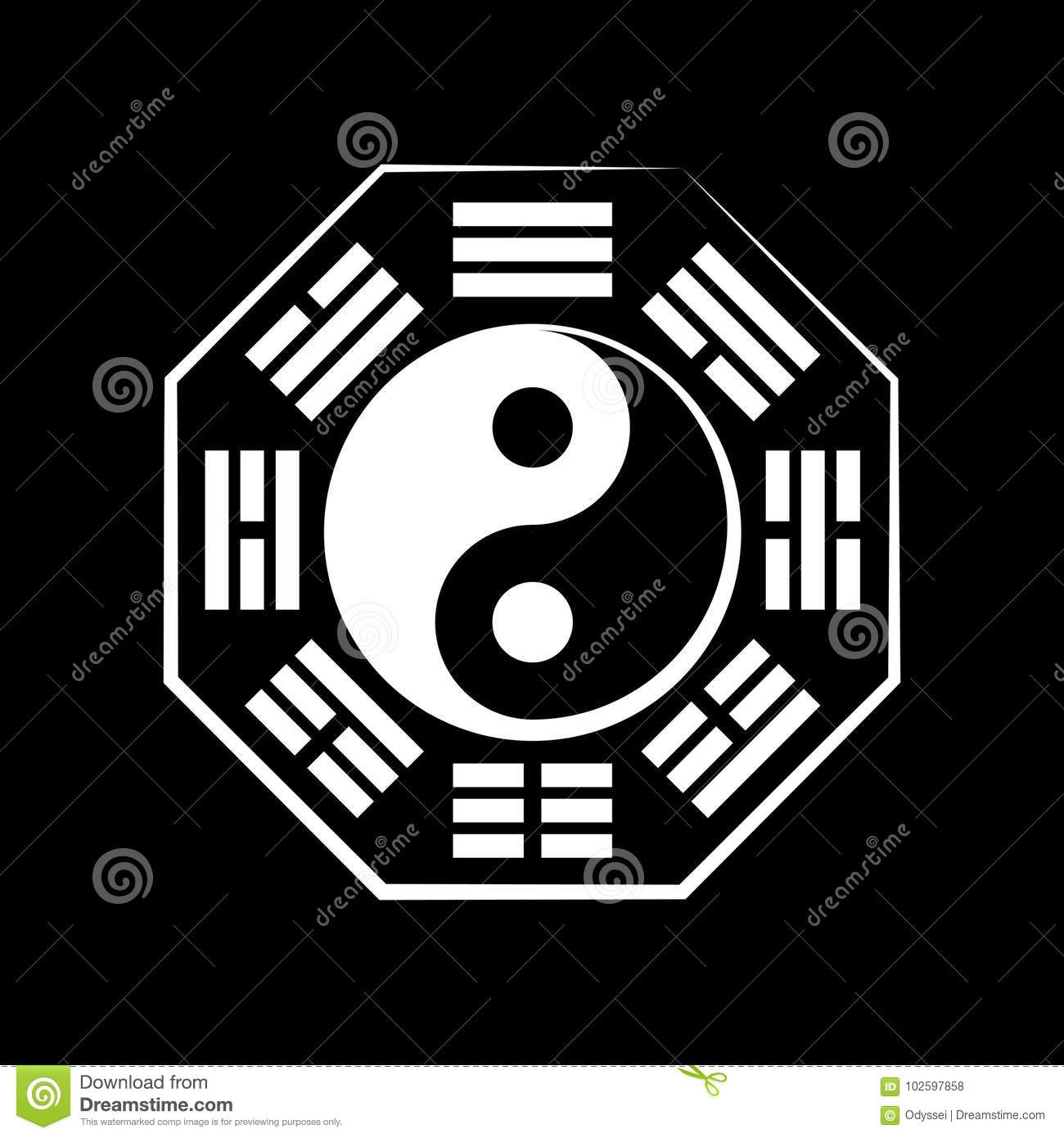 Yin Yang Duality And B Gu The Eight Trigrams Stock Vector