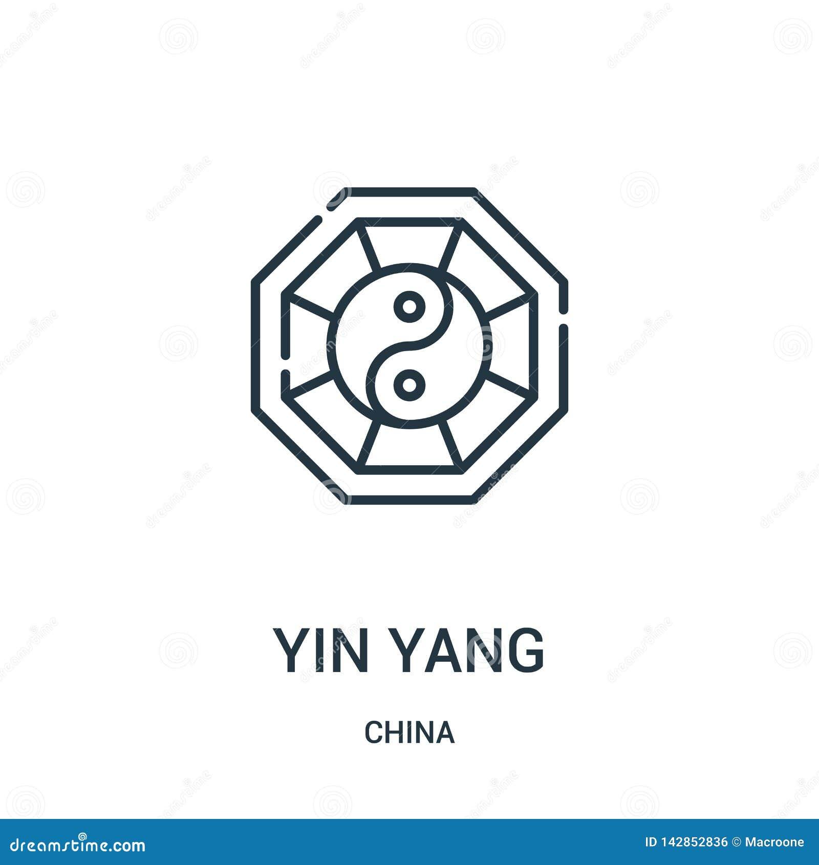Yin Yang ikony wektor od porcelanowej kolekcji Cienka kreskowa yin Yang konturu ikony wektoru ilustracja Liniowy symbol dla używa
