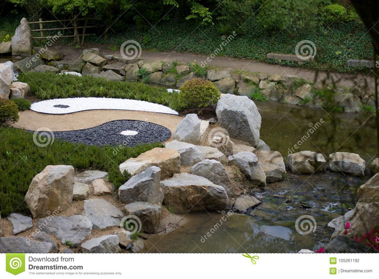 Yin Yang In Japanese Zen Garden With Water And White Rock