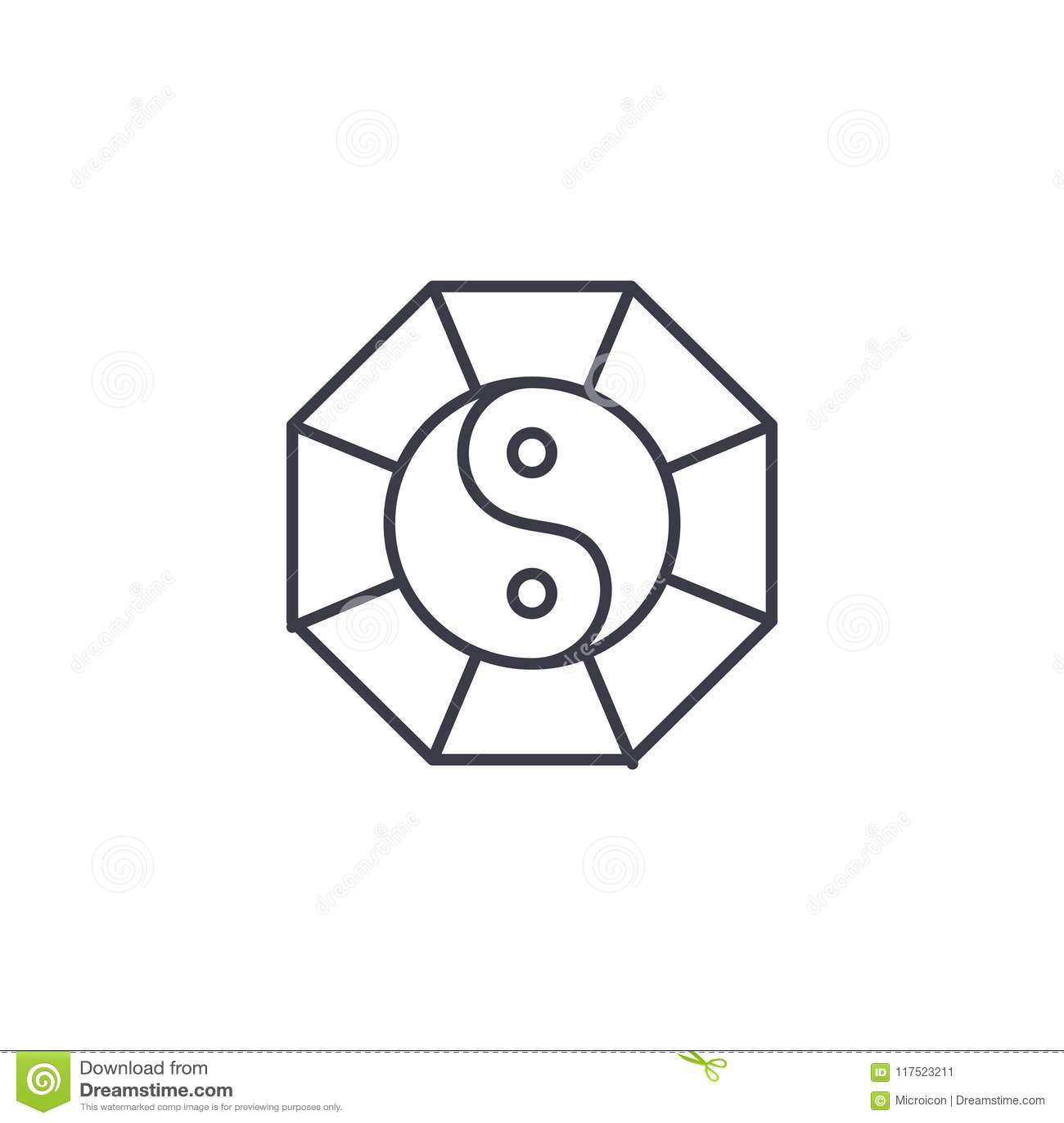 Yin Yang Linear Icon Concept Yin Yang Line Vector Sign Symbol