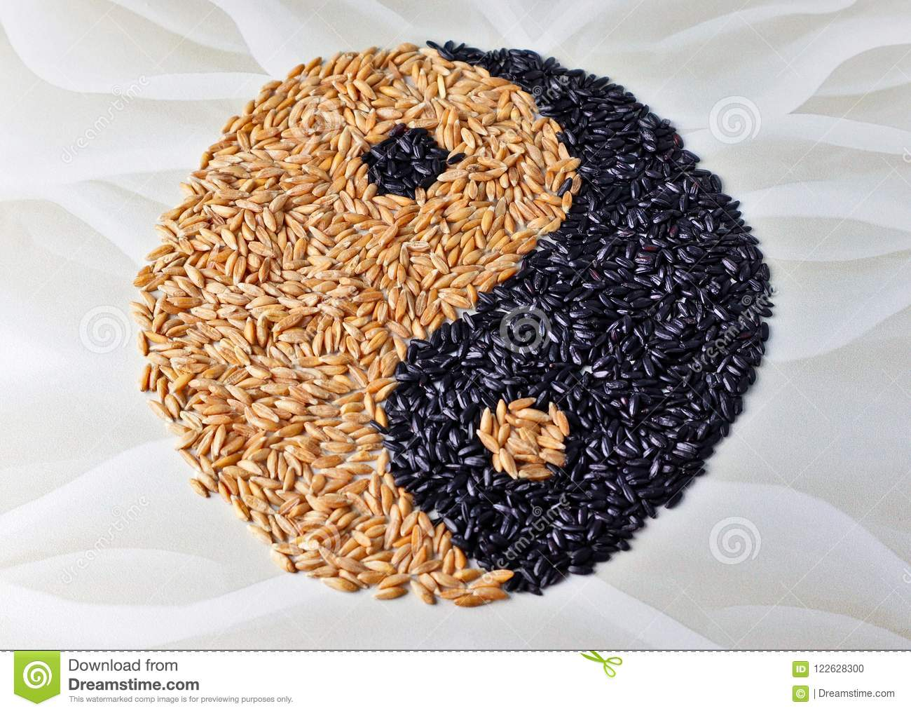 Yin And Yang Are Lined With Spelled And Black Rice Oriental Pattern