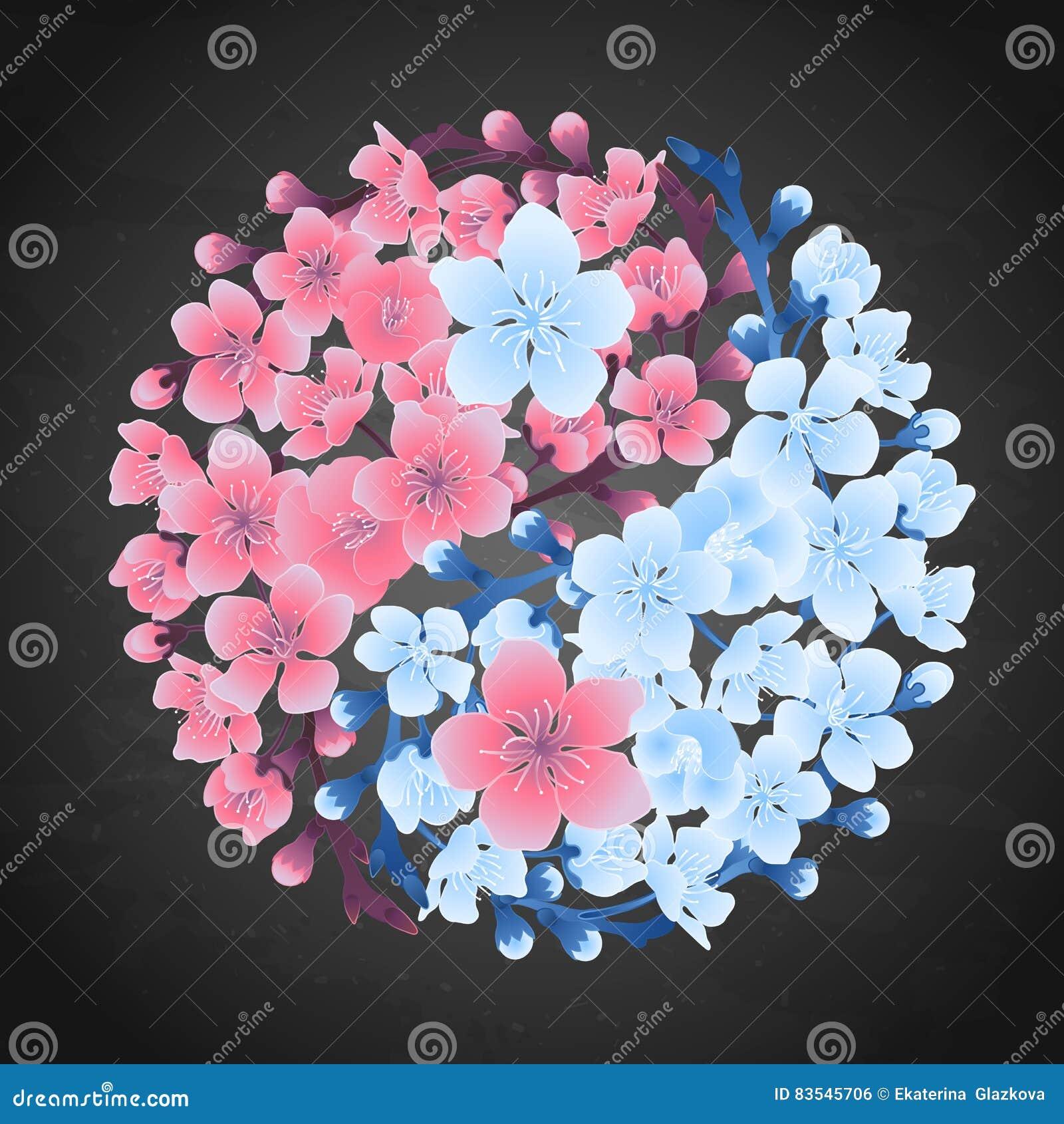 Yin Yang Made Of Sakura Stock Vector Illustration Of Cherry 83545706