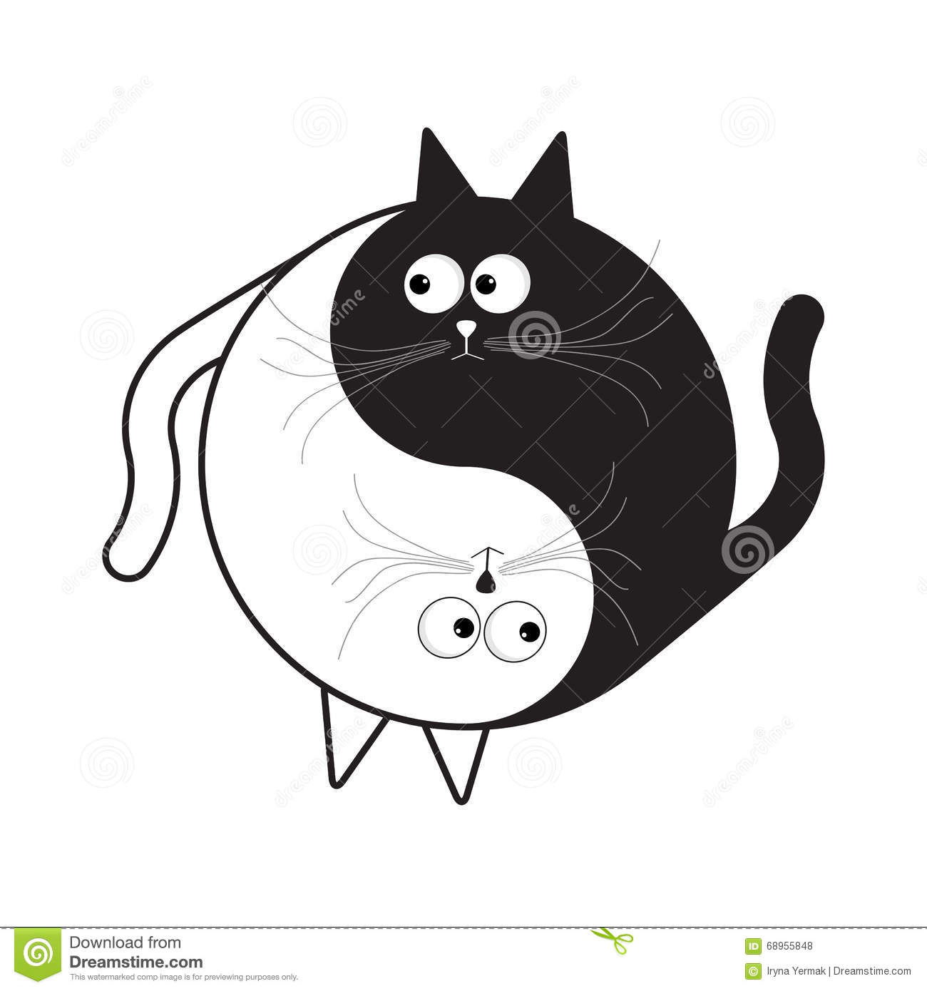 Yin Yang Sign Icon White And Black Cute Funny Cartoon Cat