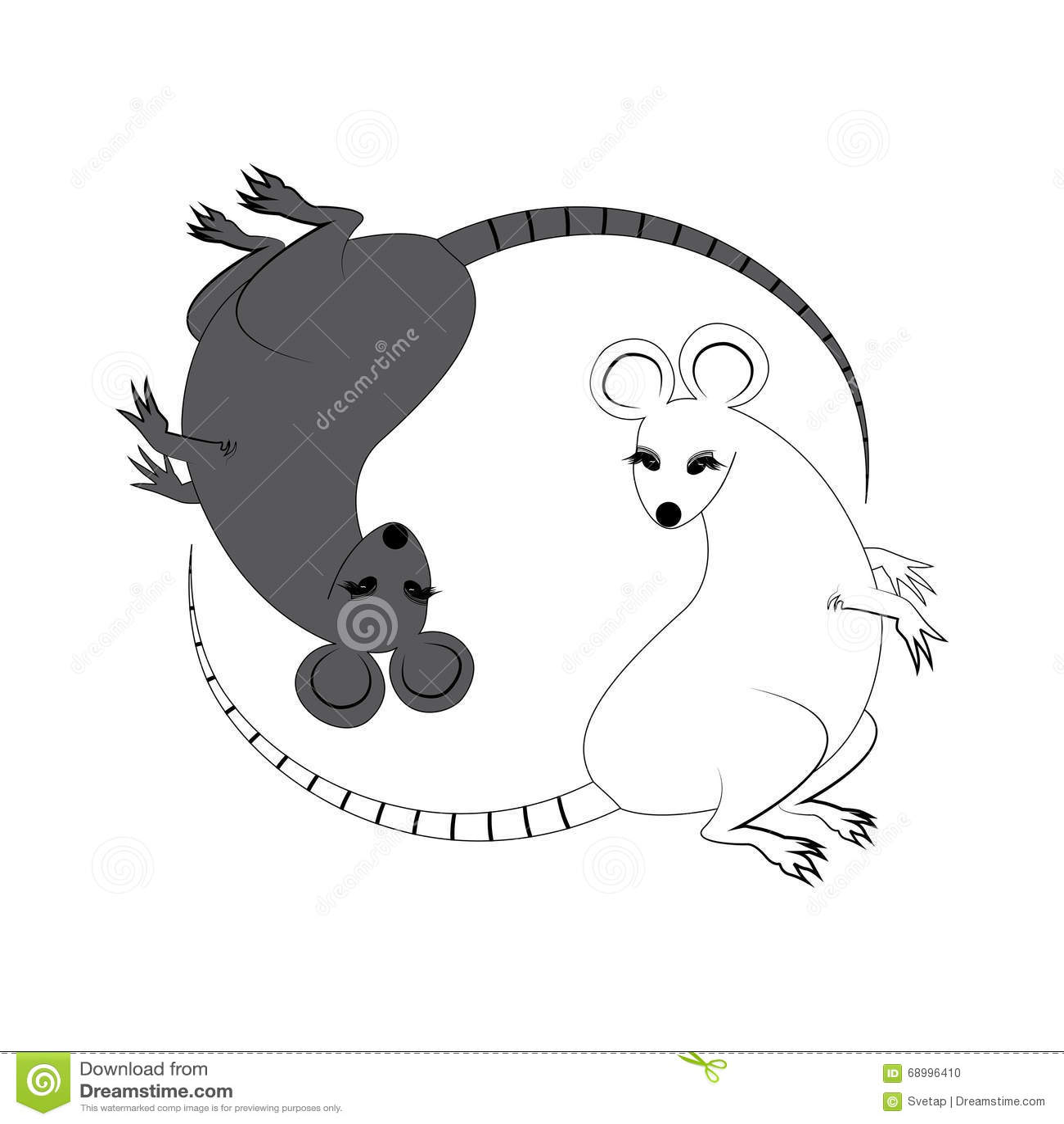 Yin yang design stock vector illustration of trigrams 7297840 yin yang sign icon white and black cute funny cartoon rat feng shui symbol buycottarizona Images