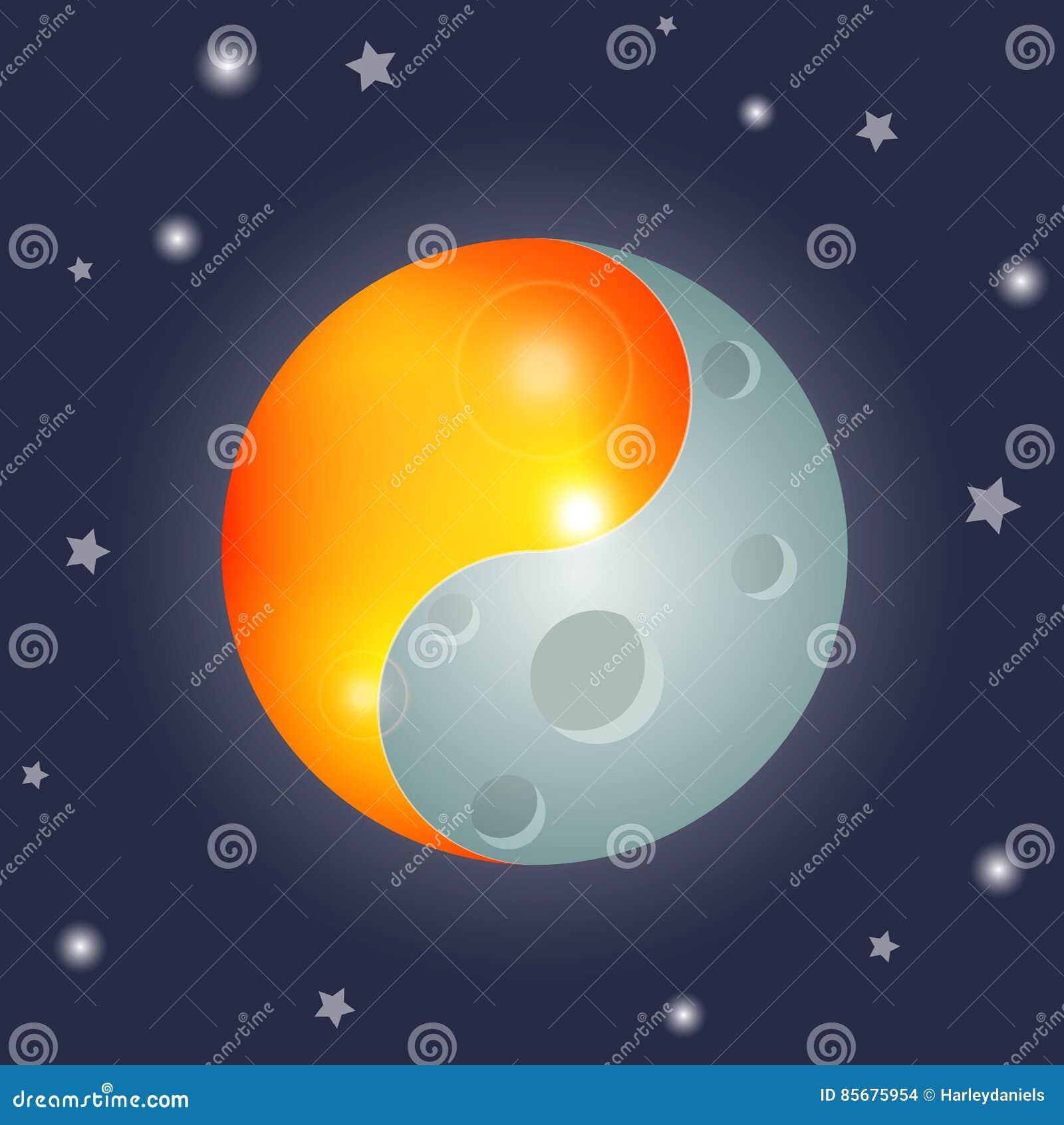 Yin And Yang Sun And Moon Equinox Stock Vector Illustration Of