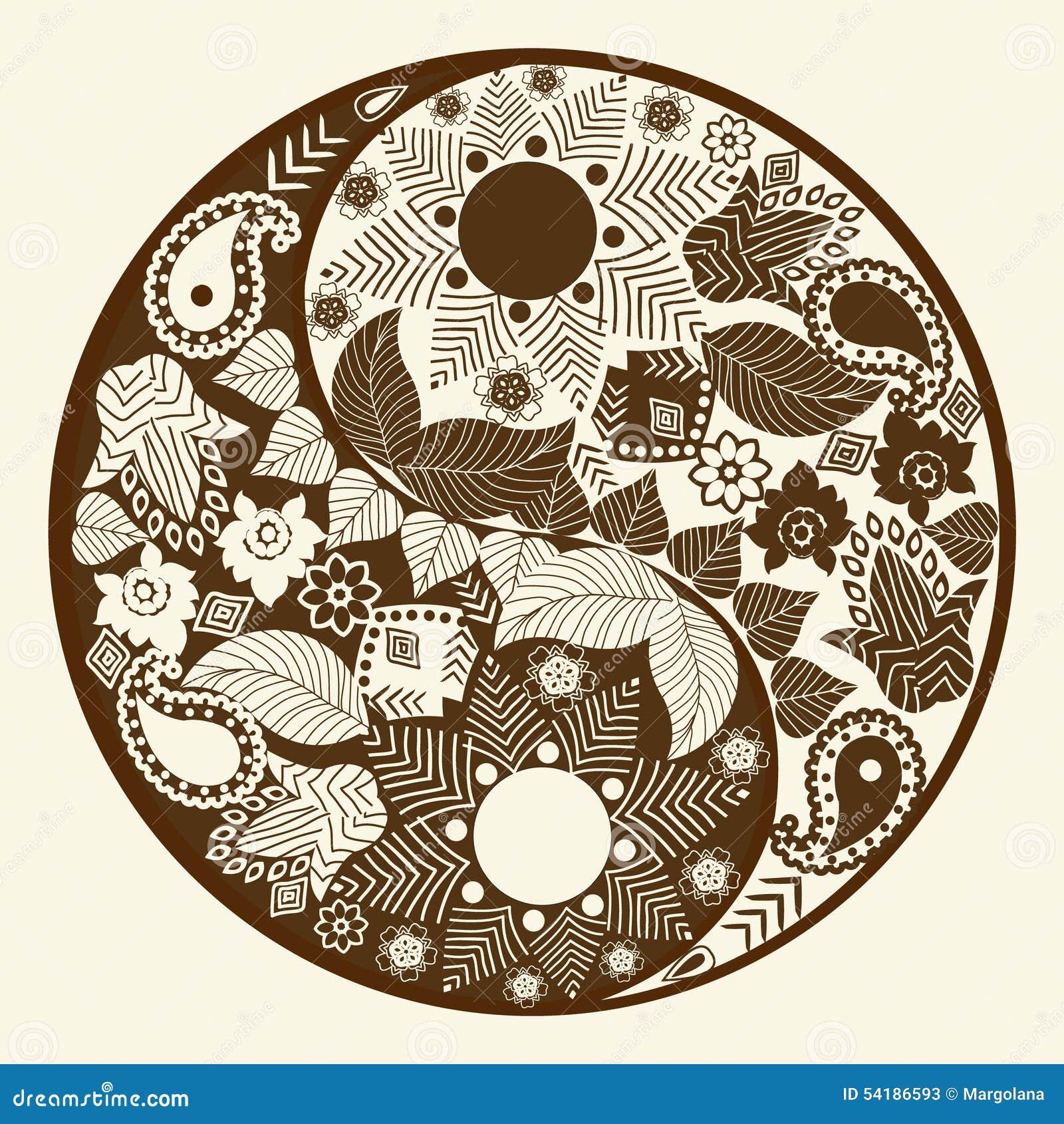 Yin Yang Symbol Asian Decoration Element Stock Vector
