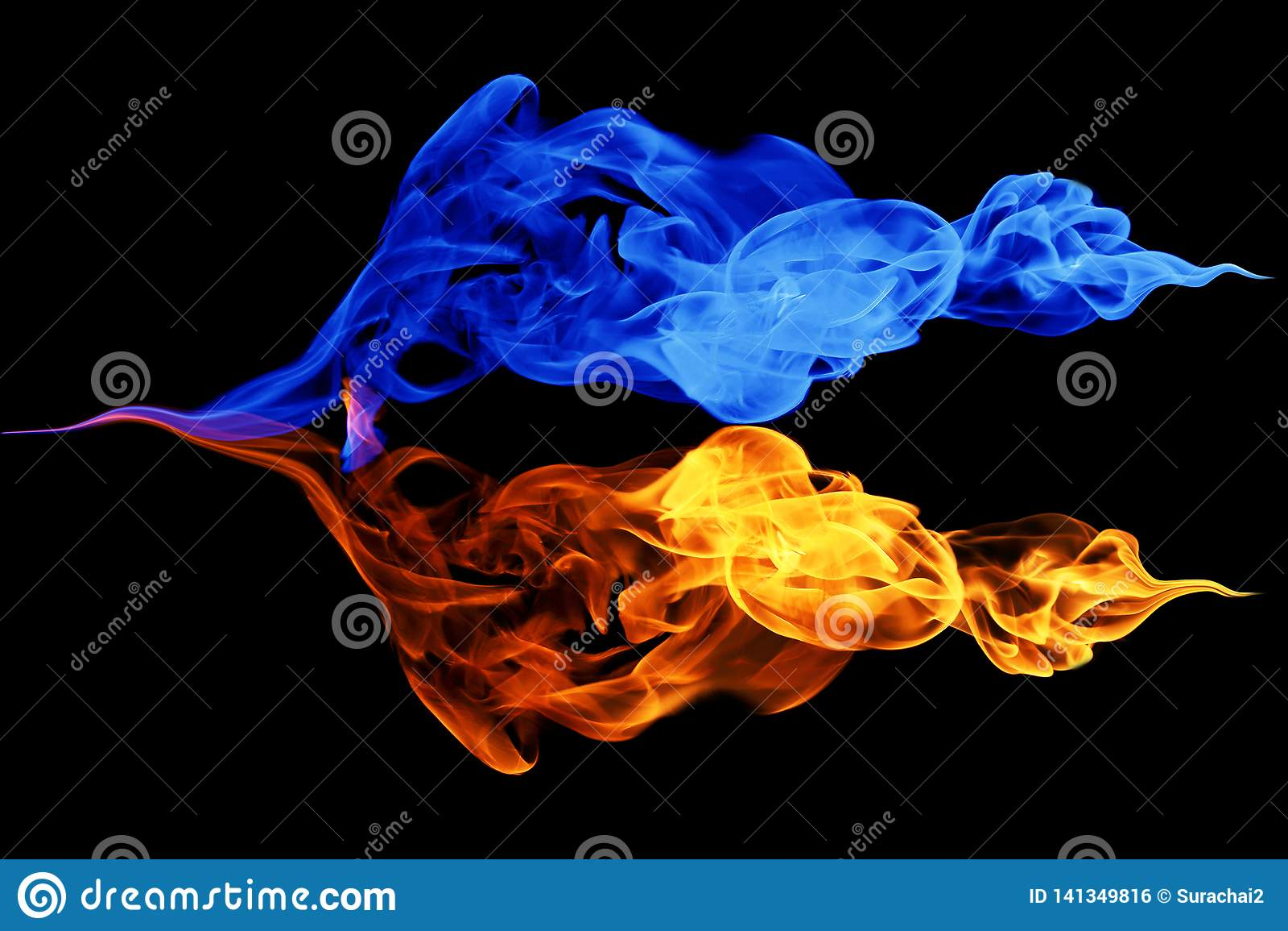 Yin-Yang symbol-, brand- och isbakgrund
