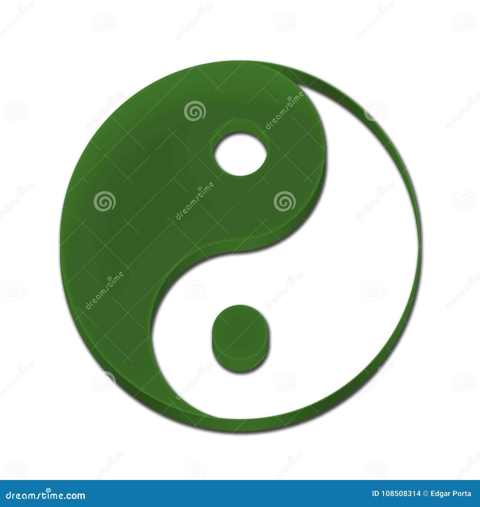 Yin Yang Symbol 3D Green Color Stock Illustration - Illustration of ...