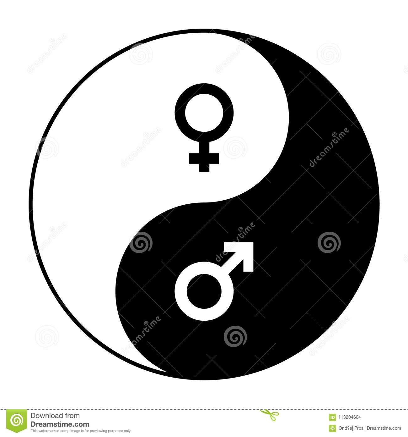 Yin Yang Symbol Of Harmony And Balance Between Male And Female