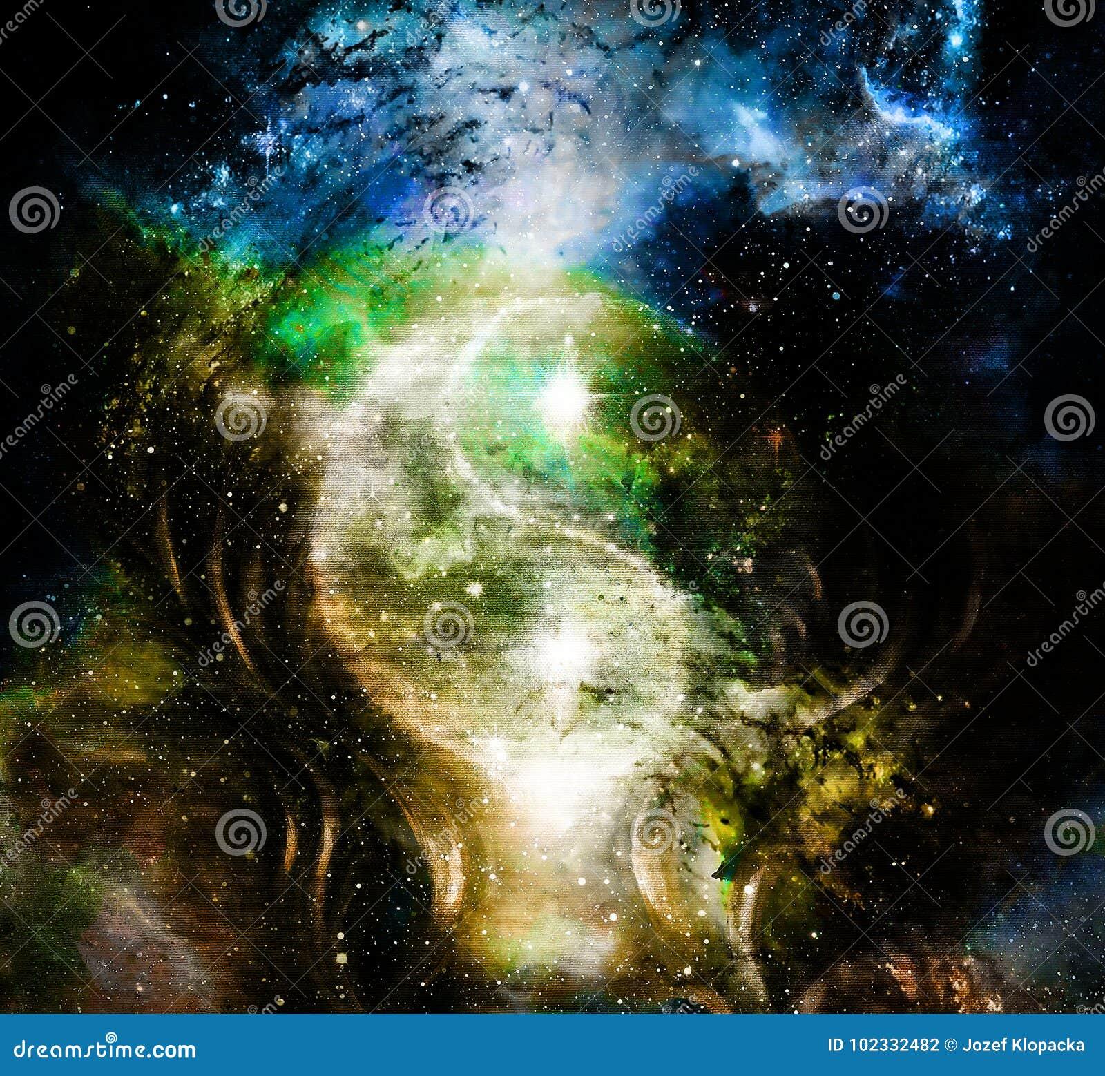 Yin Yang Symbol im kosmischen Raum Kosmischer Hintergrund