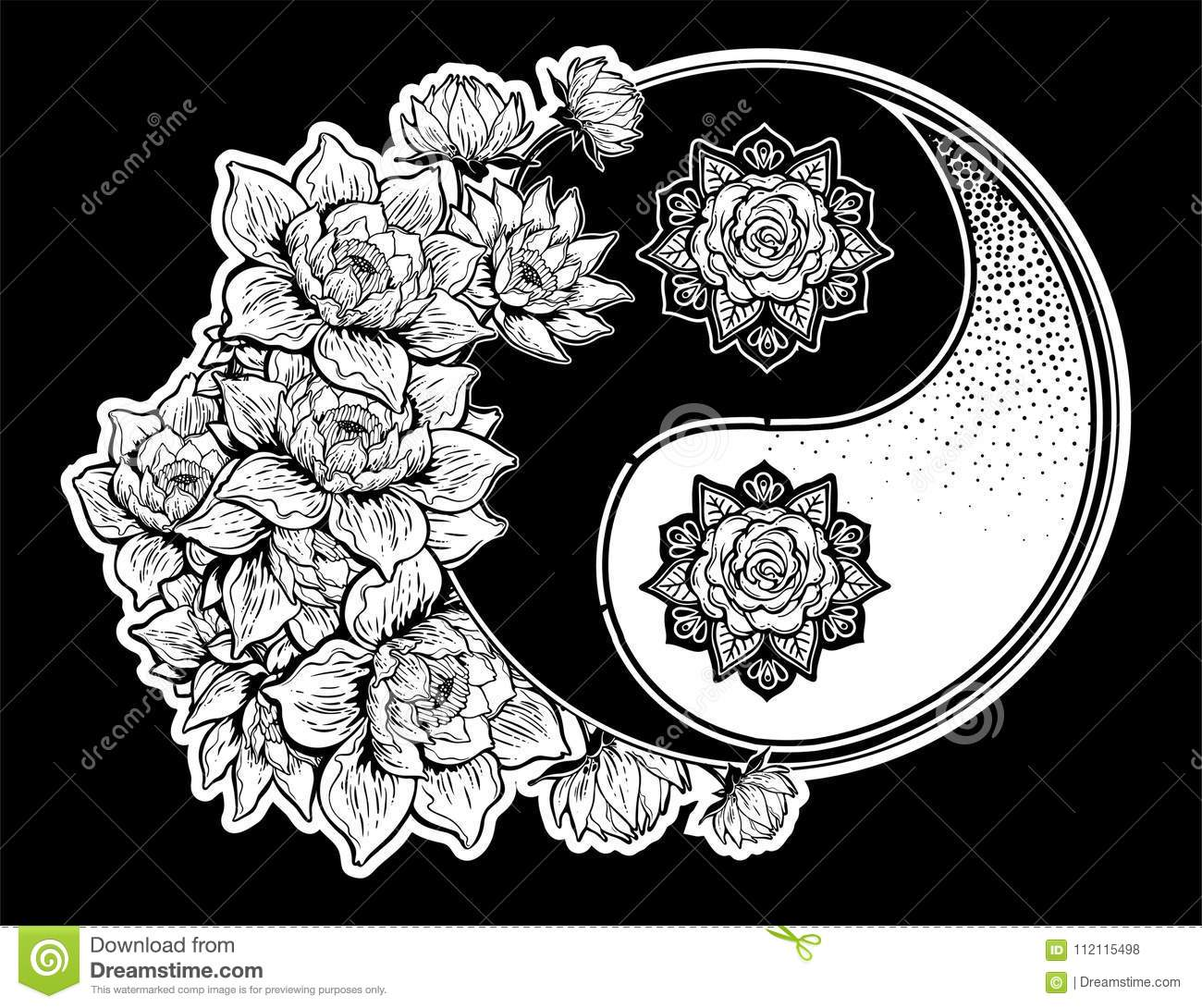 Yin And Yang Symbol With Lotus Lily Flower Stems Stock Vector