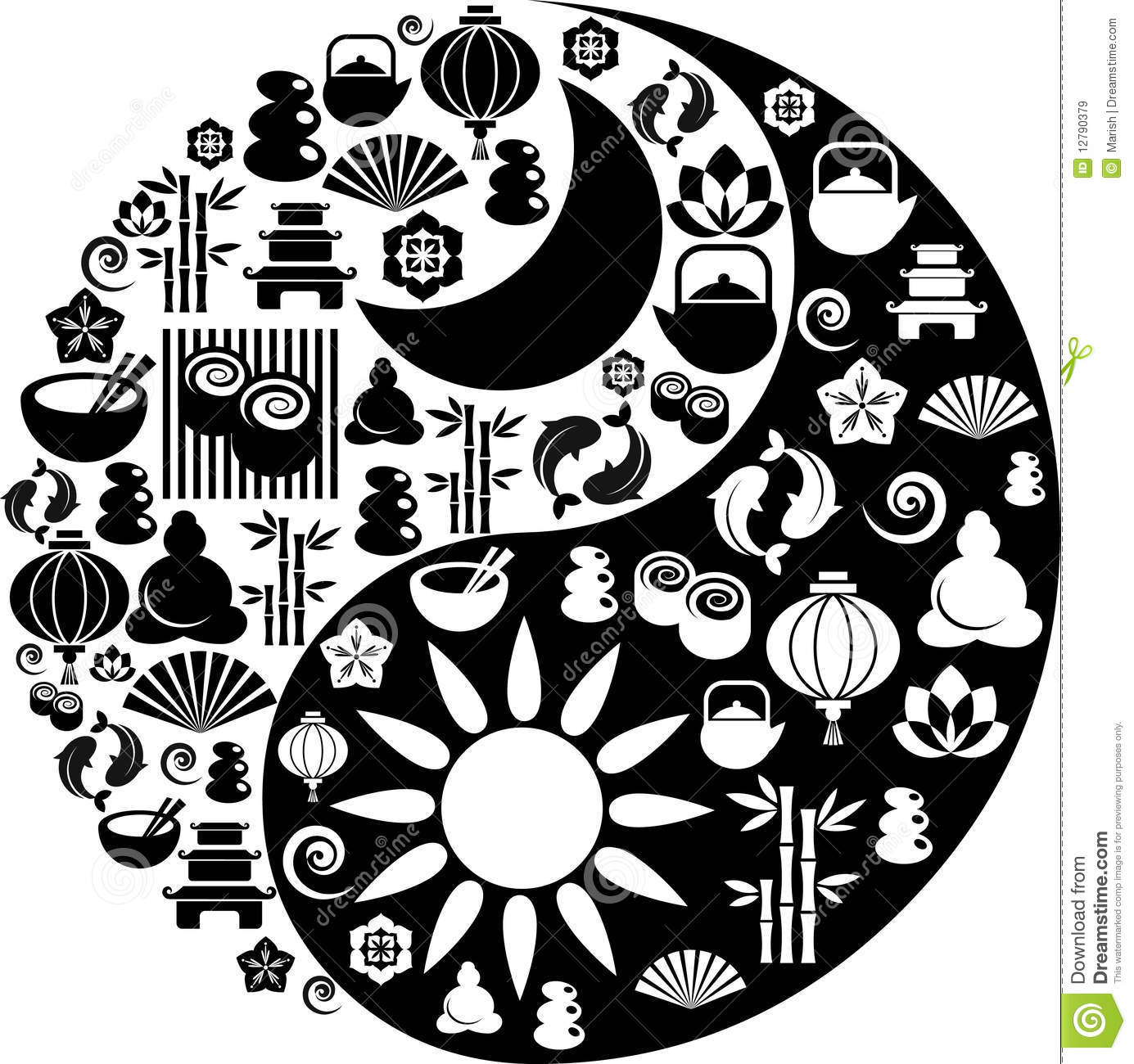 yin yang symbol made from zen icons royalty free stock