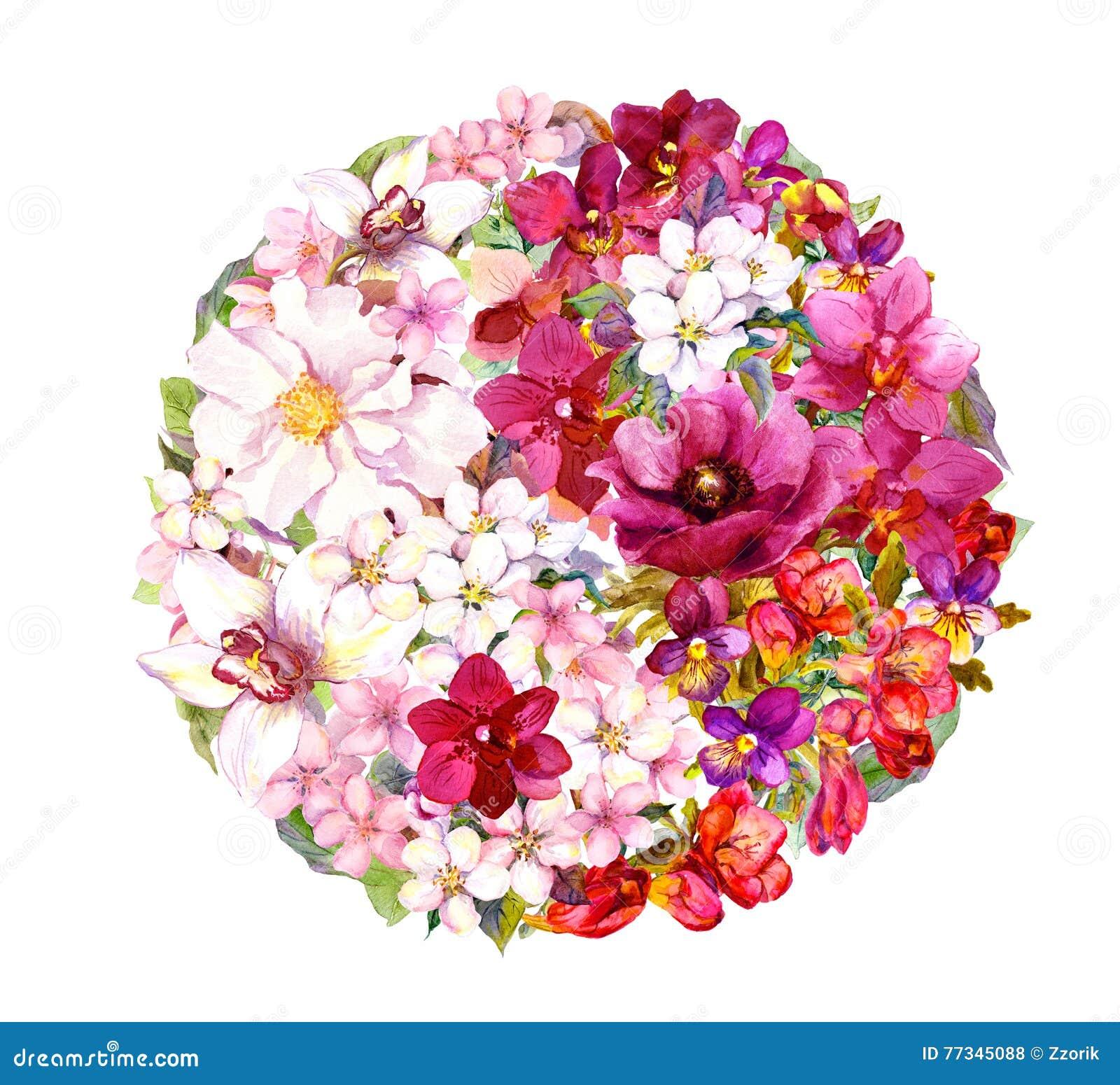 Yin yang symbol med blommor vattenfärg