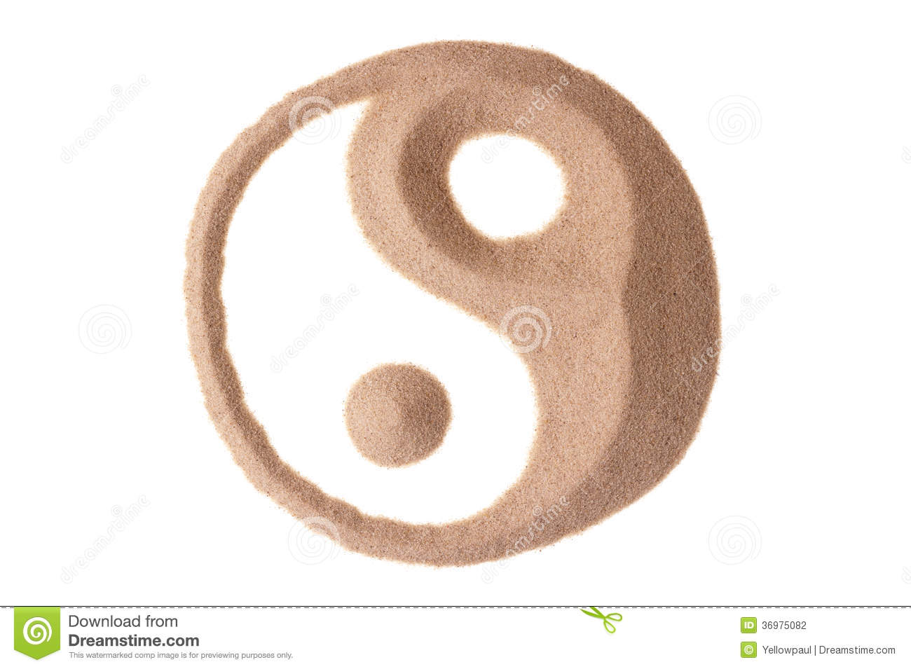 Yin Yang Symbol In Sand Stock Photo Image Of Draw Feng 36975082
