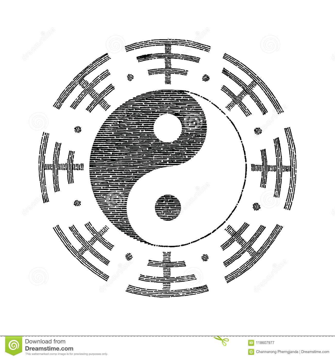 Yin Yang Symbol For Tattoo Hand Drawing Vintage Stock Vector