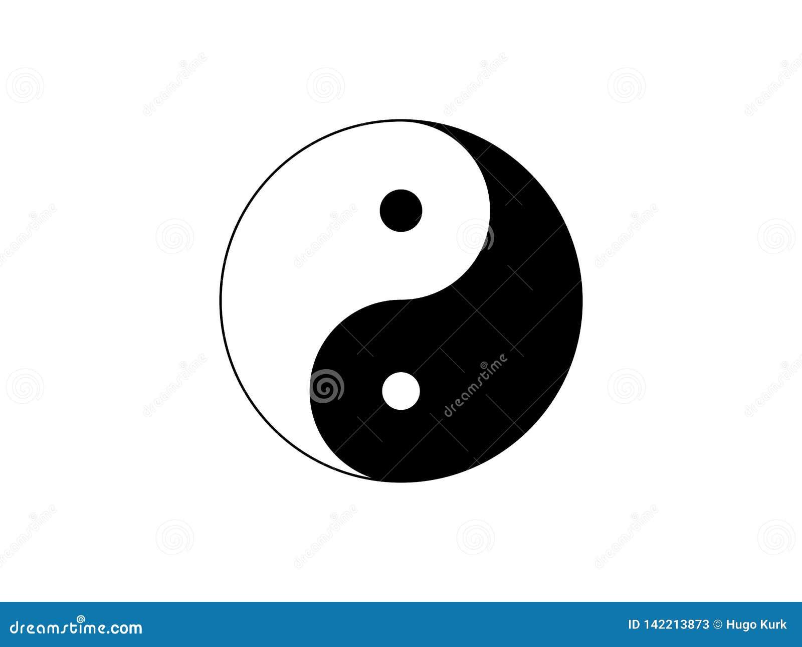 Yin Yang symbolu ikona odizolowywająca