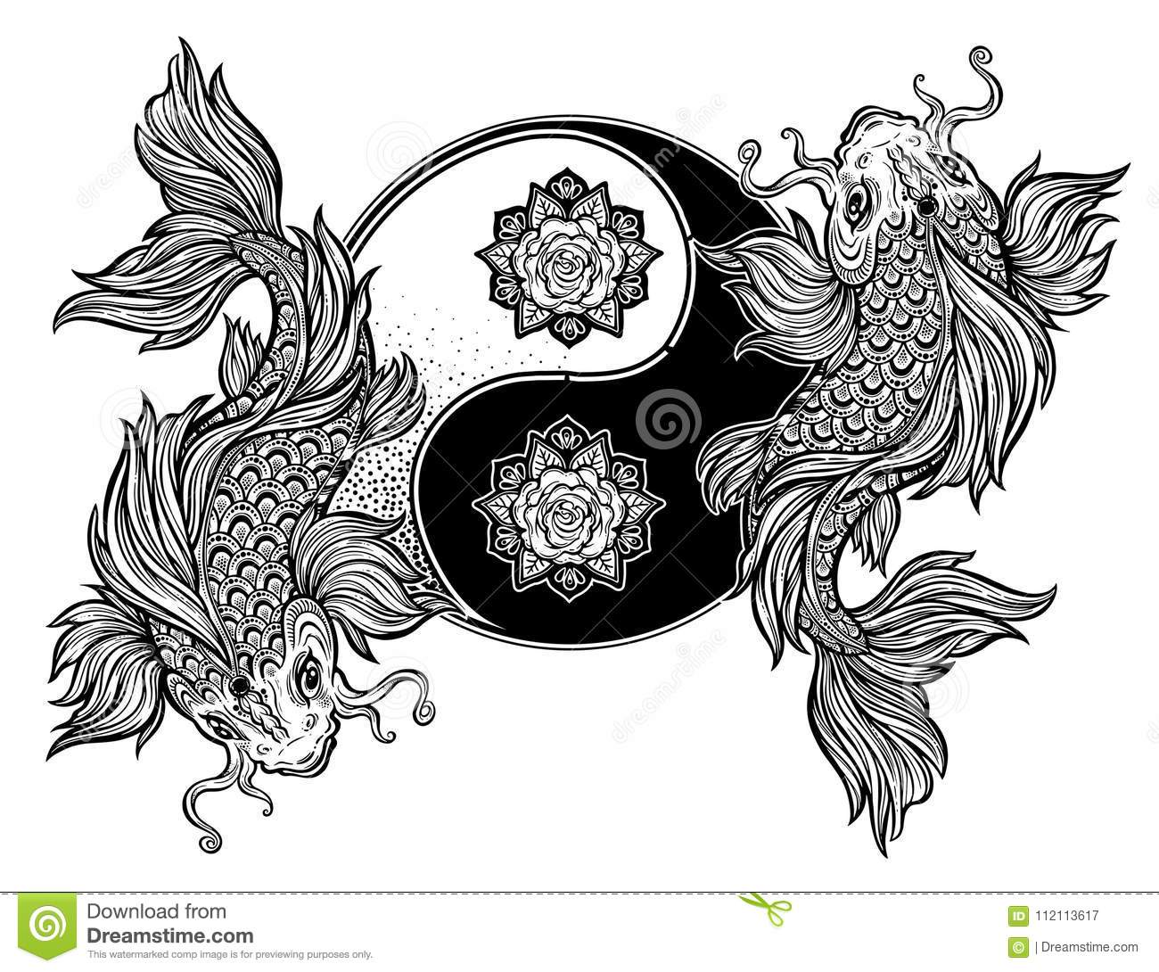yin and yang tao floral symbol with koi carp fish stock. Black Bedroom Furniture Sets. Home Design Ideas