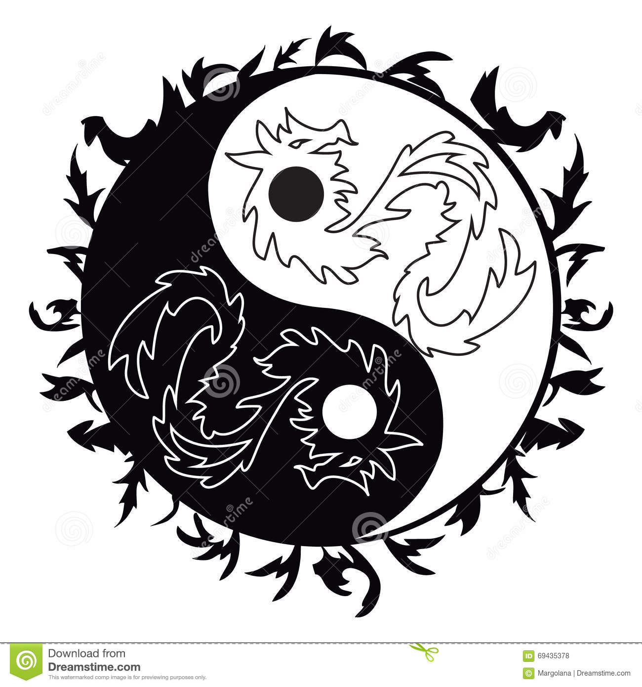 Yin Yang Tattoo With Dragons Stock Vector Illustration Of Hand