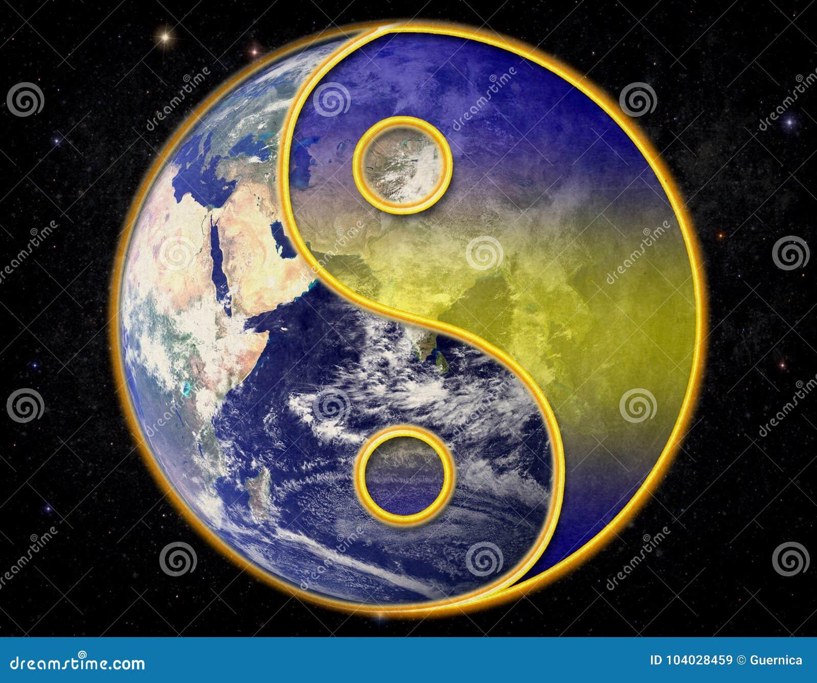 Yin yang universum på stjärnklar bakgrund