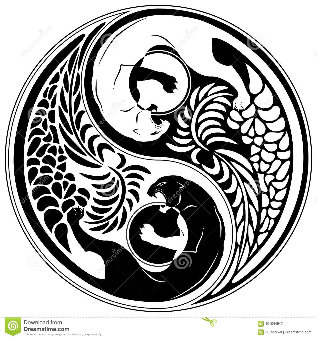 Yin Yang Wild Cat Black And White Tattoo Style Stock Vector